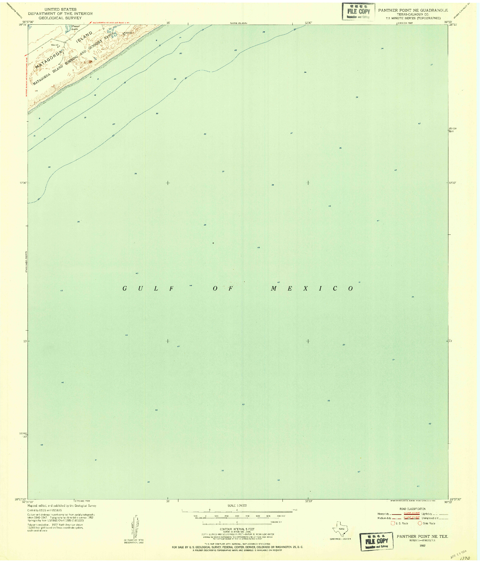 USGS 1:24000-SCALE QUADRANGLE FOR PANTHER POINT NE, TX 1952