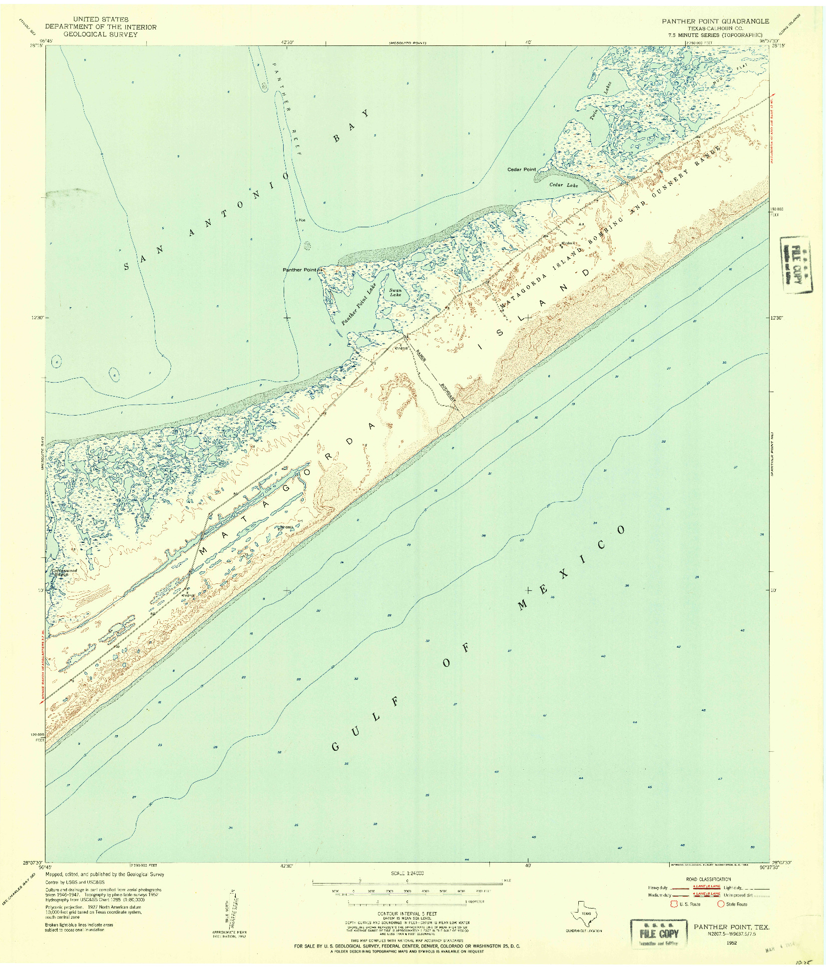 USGS 1:24000-SCALE QUADRANGLE FOR PANTHER POINT, TX 1952