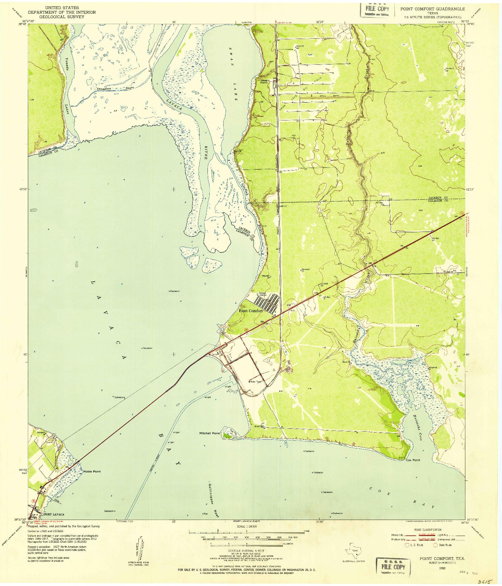 USGS 1:24000-SCALE QUADRANGLE FOR POINT COMFORT, TX 1952