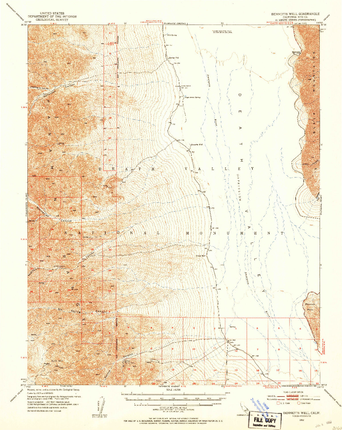 USGS 1:62500-SCALE QUADRANGLE FOR BENNETTS WELL, CA 1952