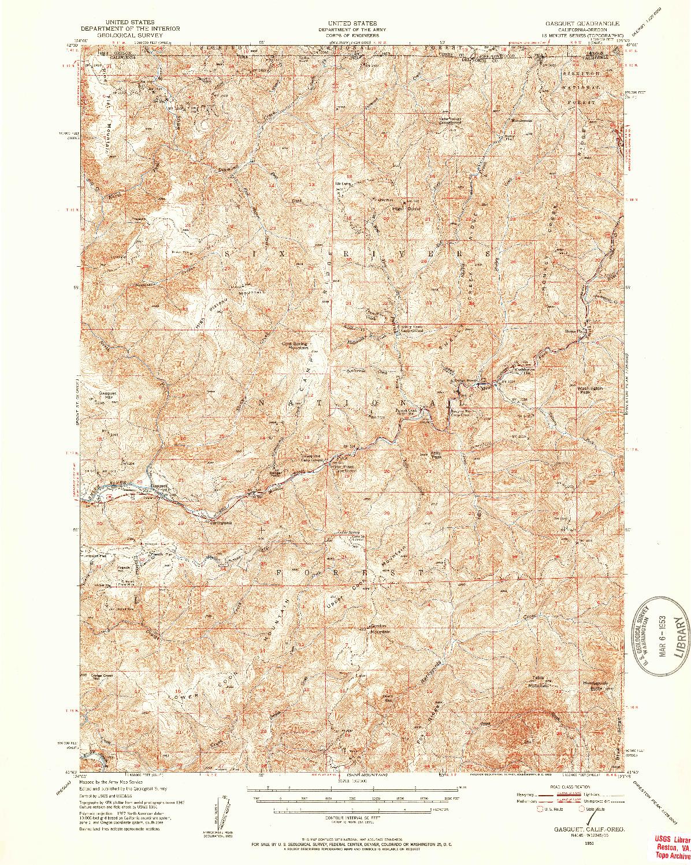 USGS 1:62500-SCALE QUADRANGLE FOR GASQUET, CA 1951