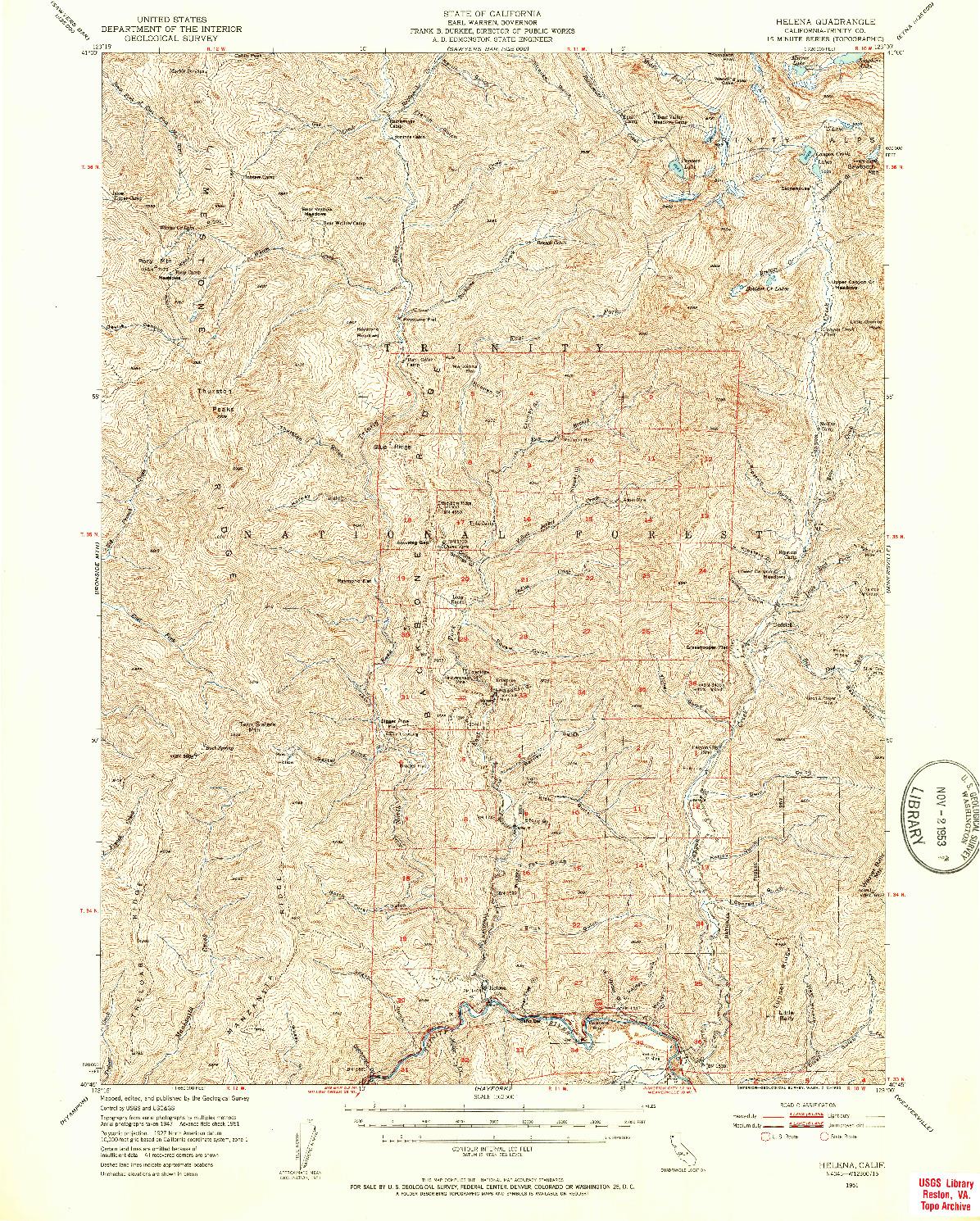 USGS 1:62500-SCALE QUADRANGLE FOR HELENA, CA 1951