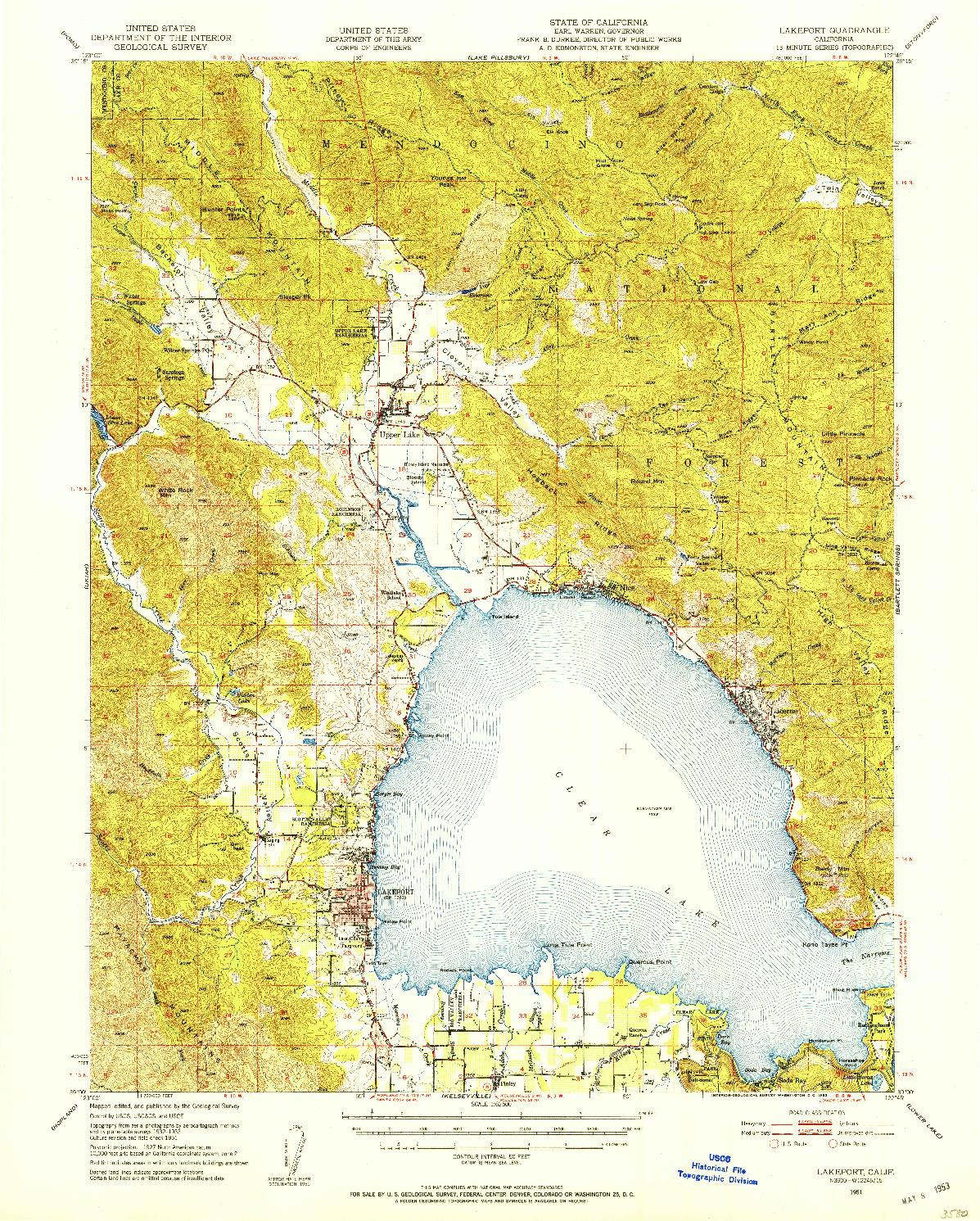 USGS 1:62500-SCALE QUADRANGLE FOR LAKEPORT, CA 1951