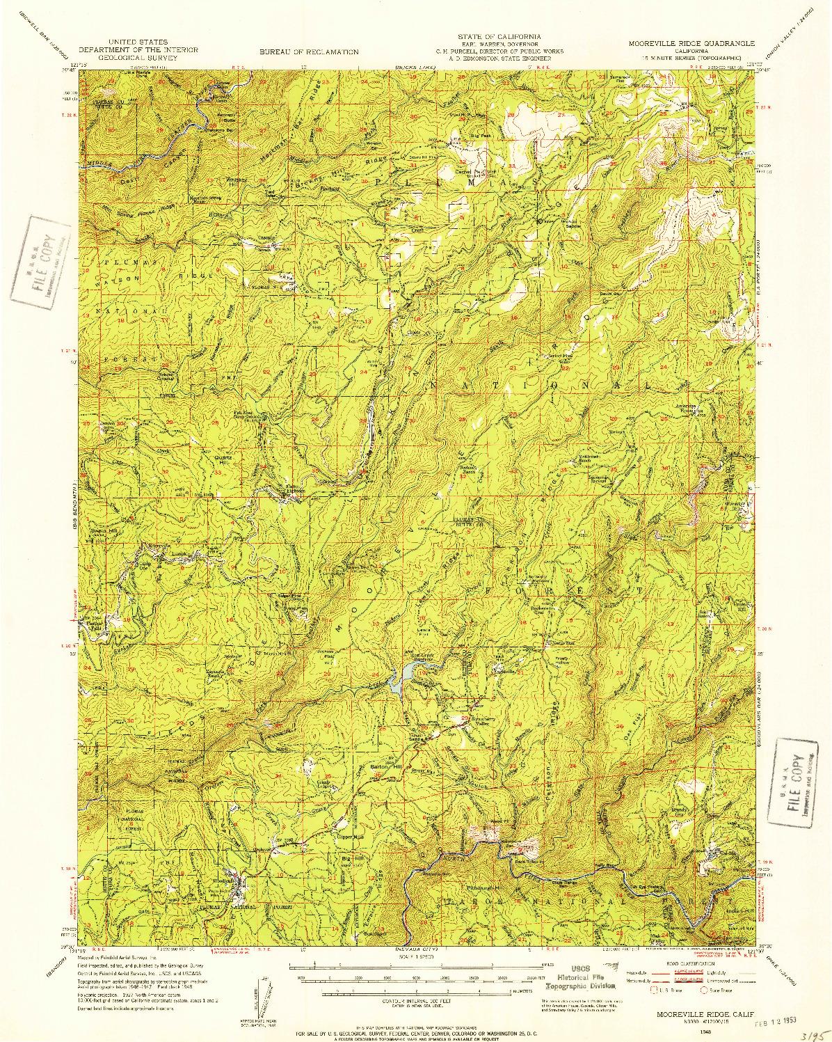 USGS 1:62500-SCALE QUADRANGLE FOR MOOREVILLE RIDGE, CA 1948