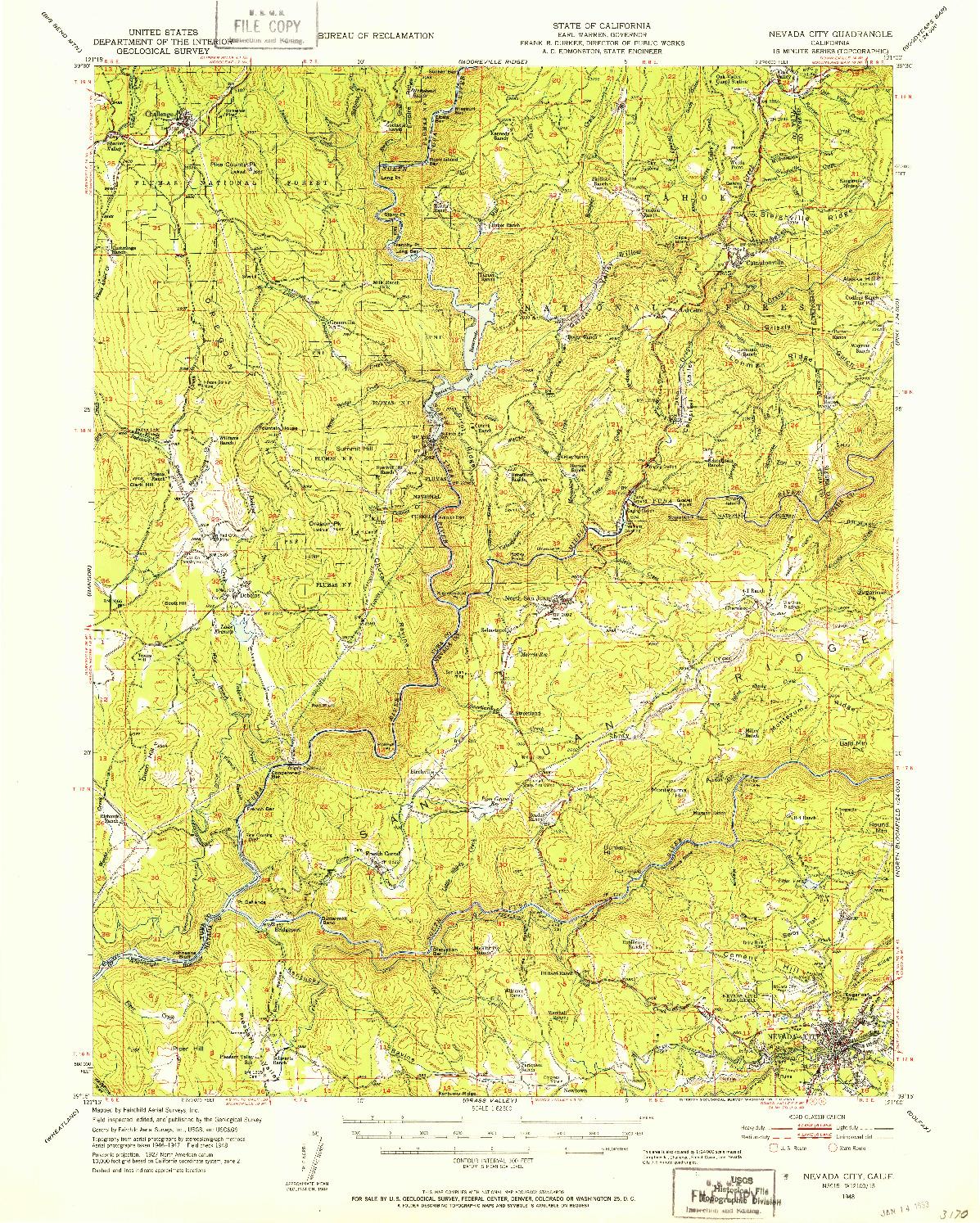 USGS 1:62500-SCALE QUADRANGLE FOR NEVADA CITY, CA 1948