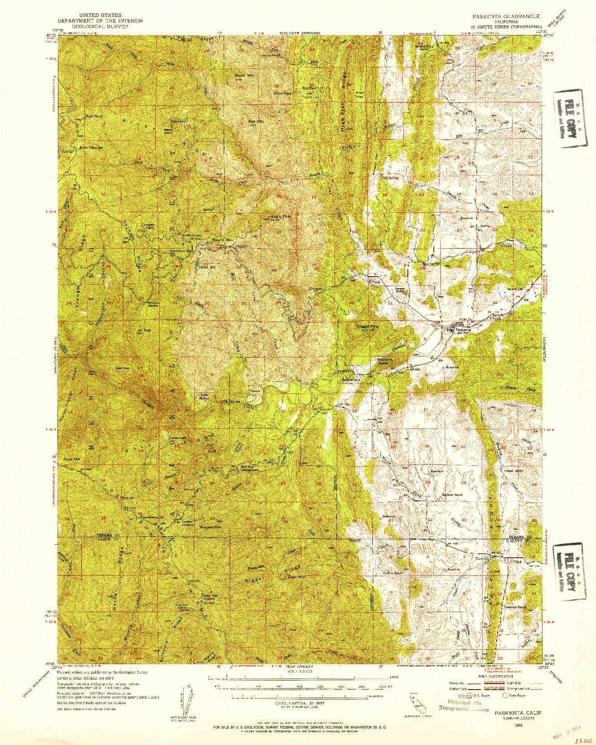 USGS 1:62500-SCALE QUADRANGLE FOR PASKENTA, CA 1952