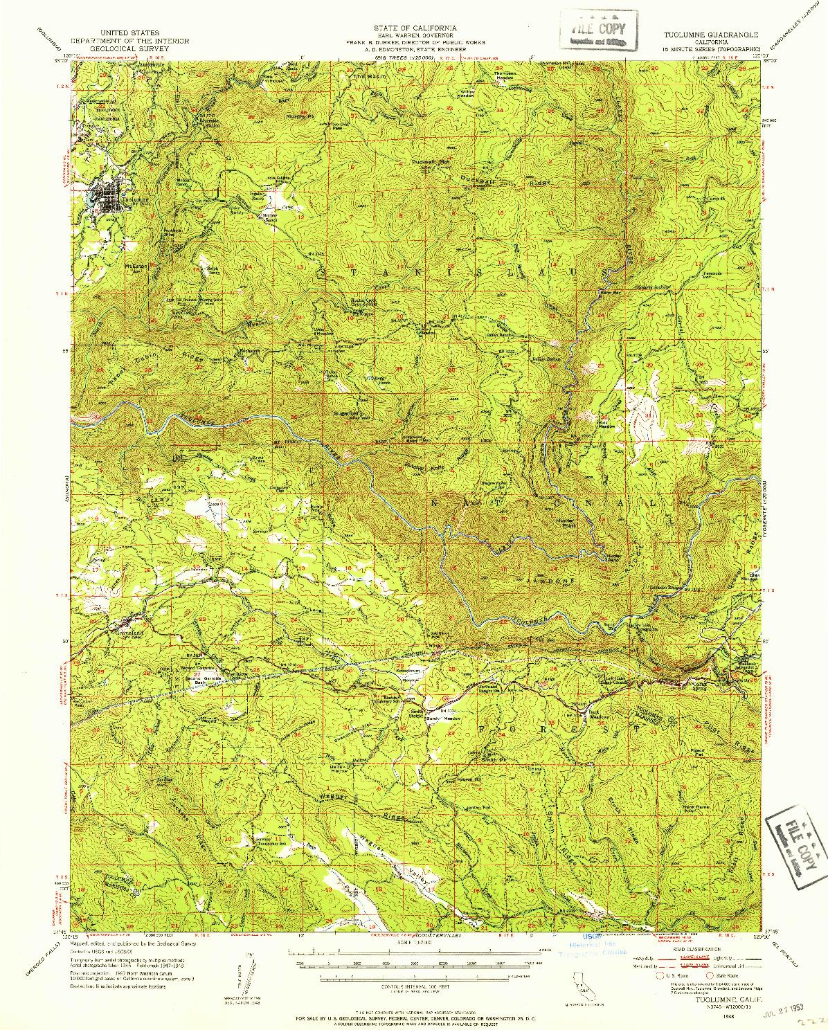 USGS 1:62500-SCALE QUADRANGLE FOR TUOLUMNE, CA 1948