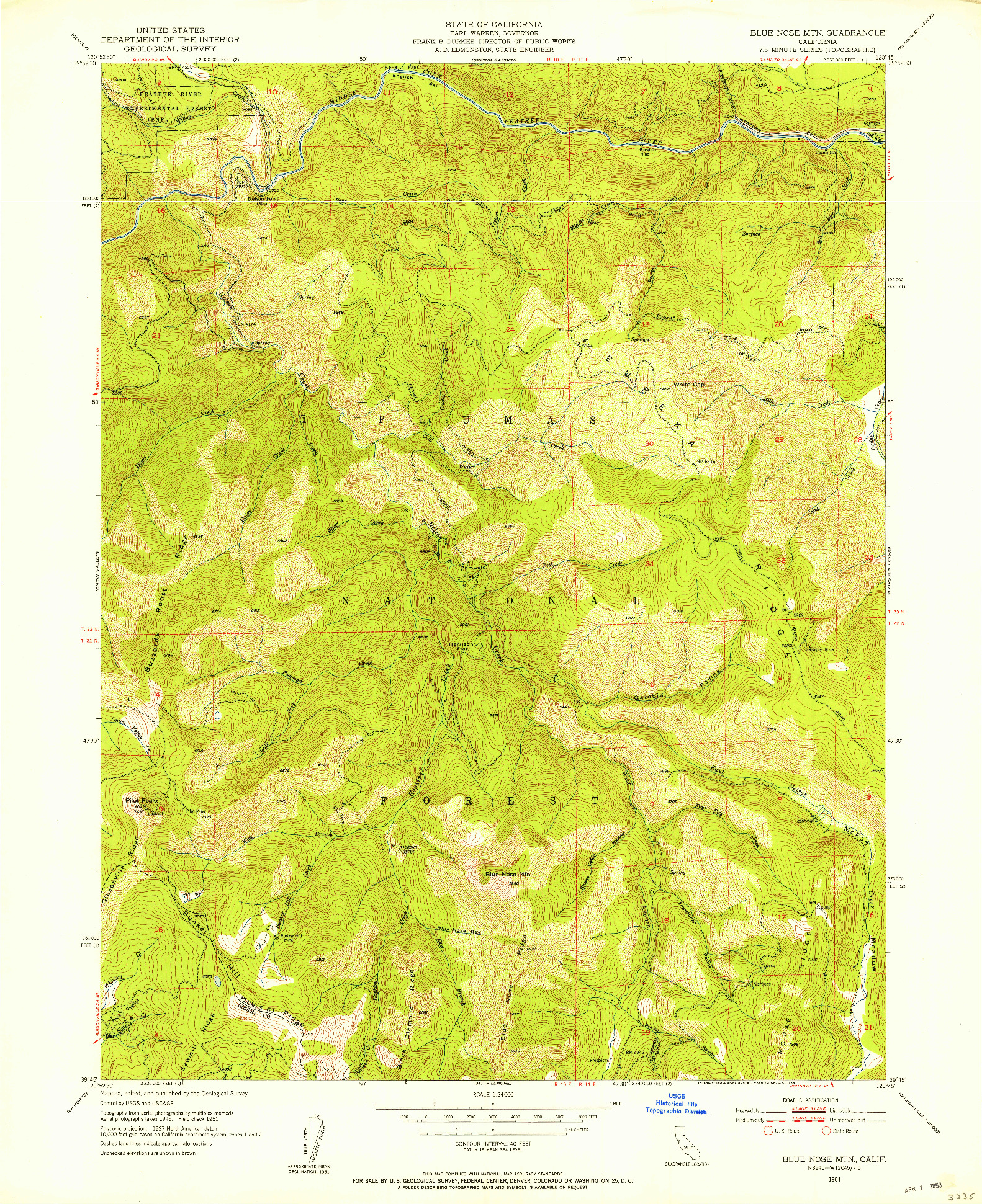 USGS 1:24000-SCALE QUADRANGLE FOR BLUE NOSE MTN, CA 1951