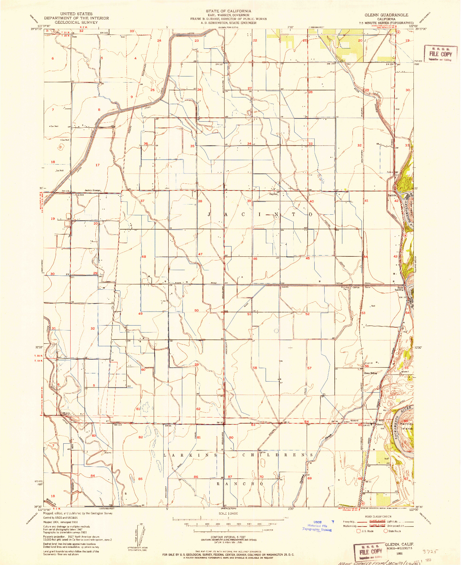 USGS 1:24000-SCALE QUADRANGLE FOR GLENN, CA 1951