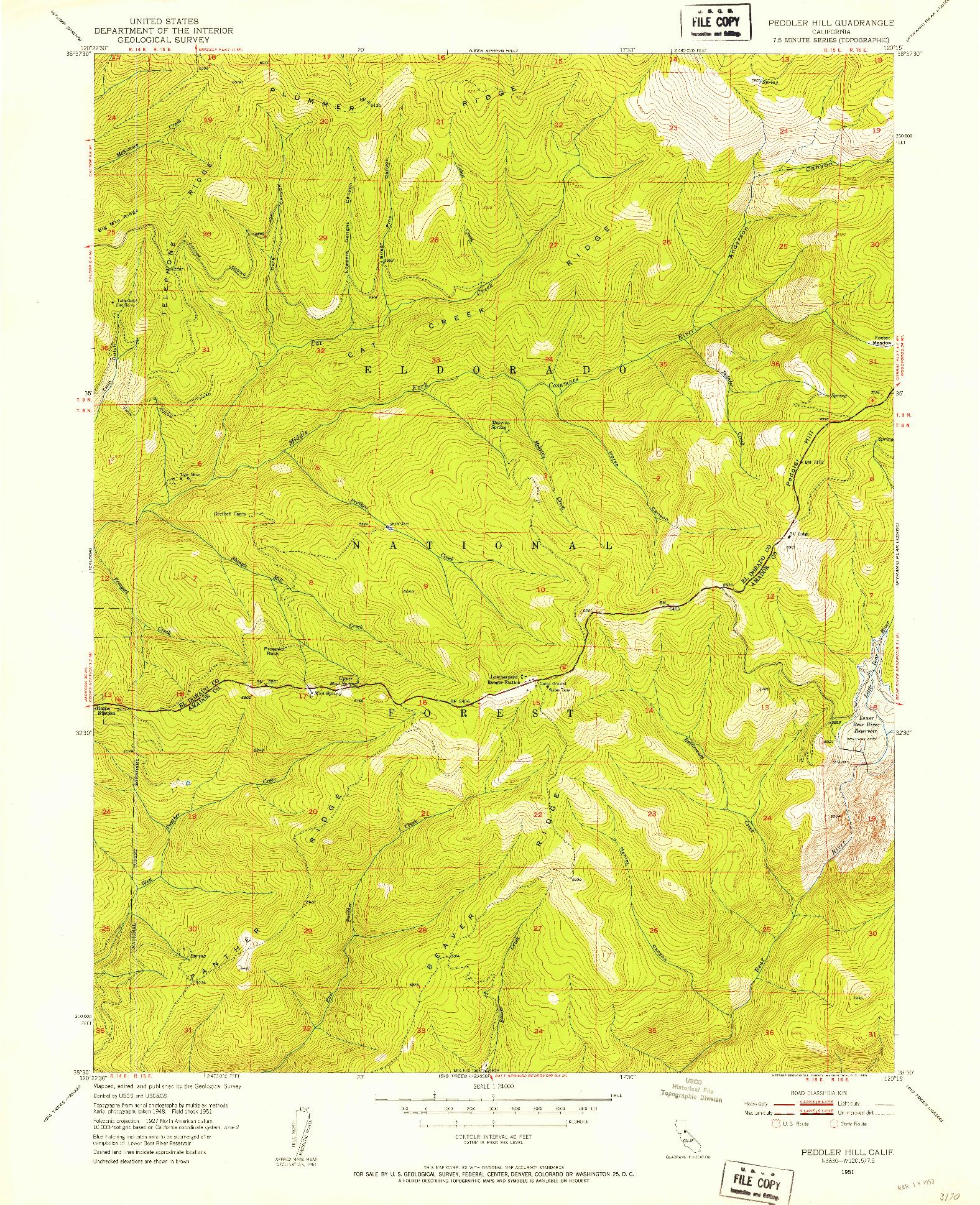 USGS 1:24000-SCALE QUADRANGLE FOR PEDDLER HILL, CA 1951