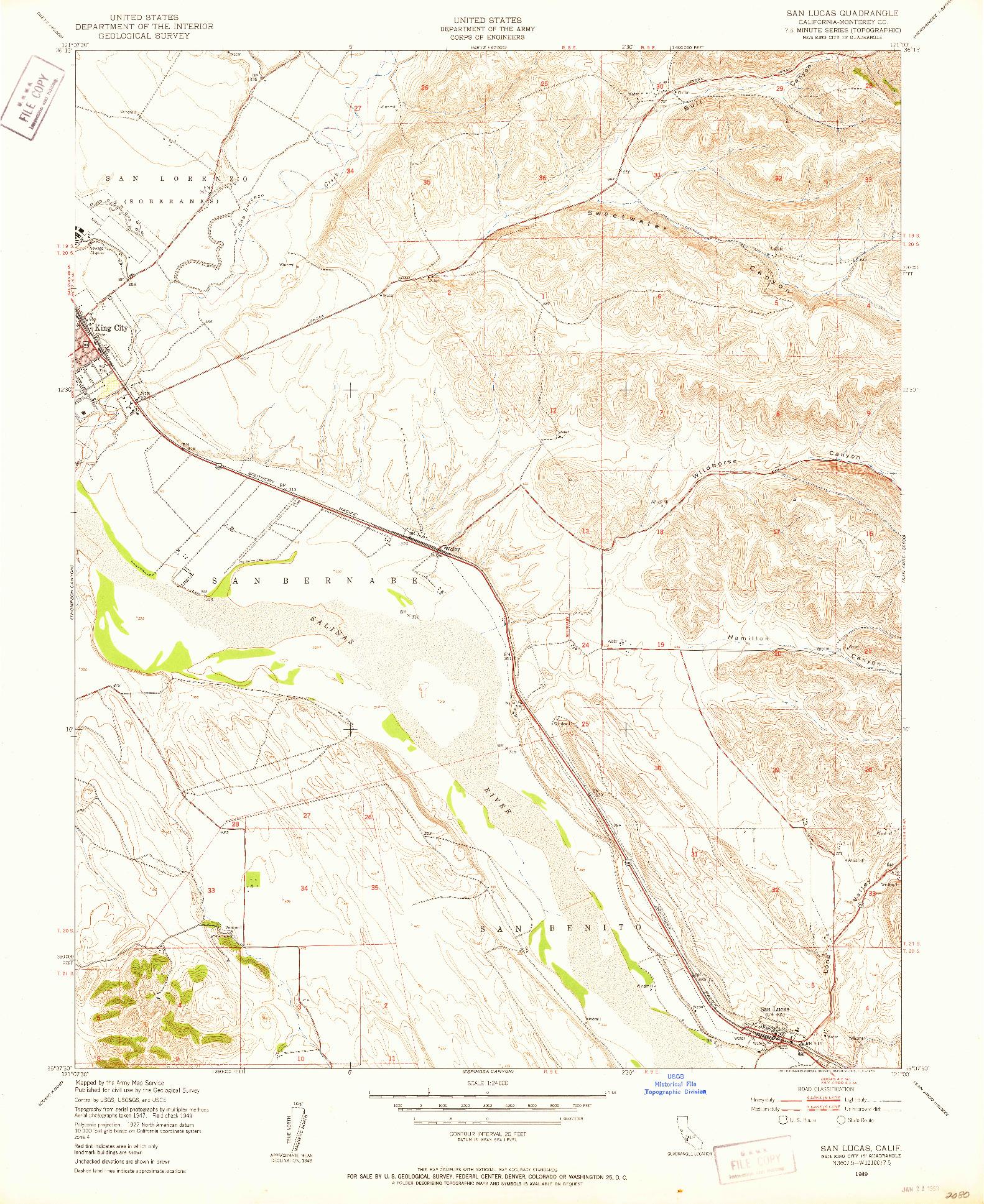 USGS 1:24000-SCALE QUADRANGLE FOR SAN LUCAS, CA 1949