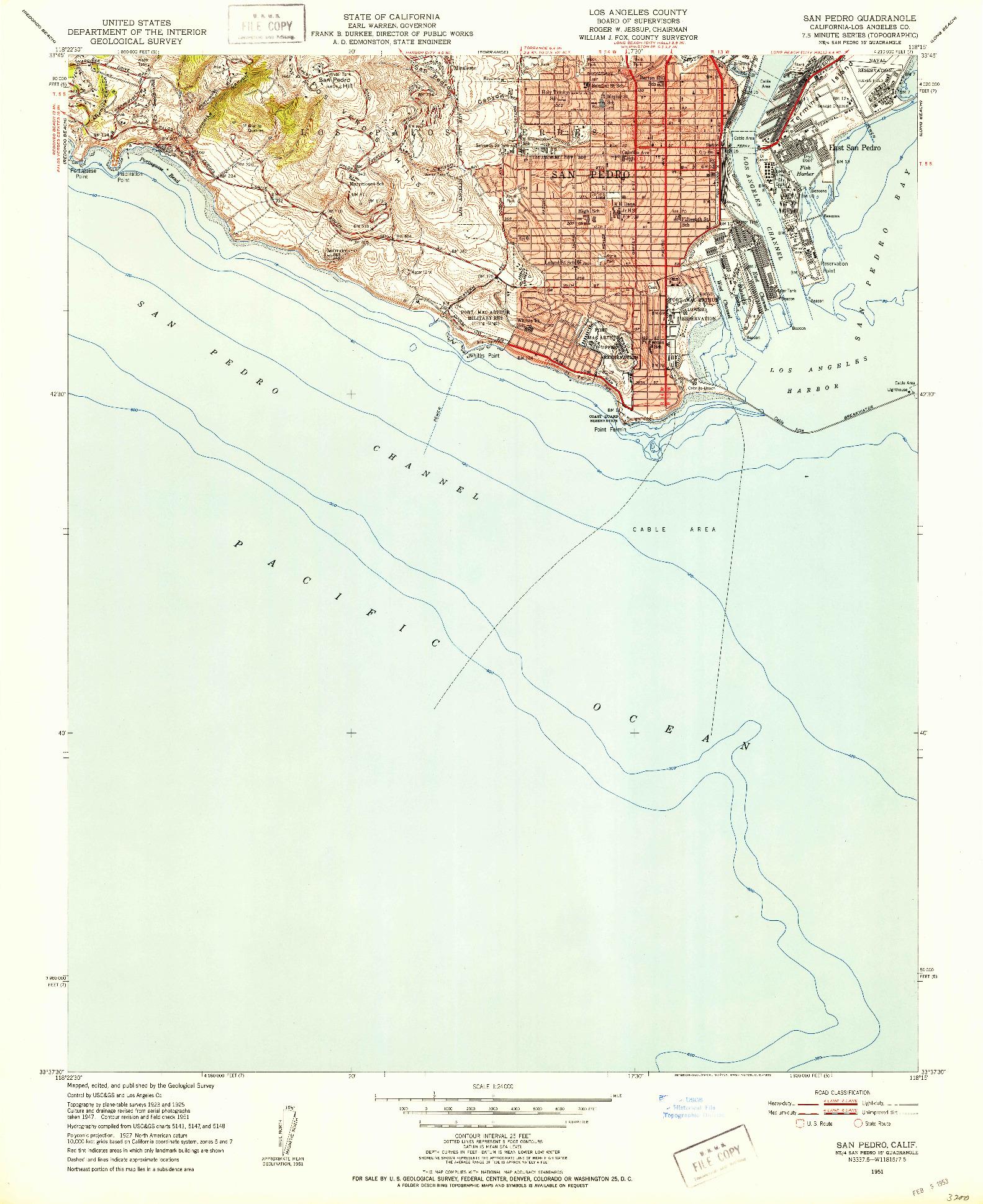 USGS 1:24000-SCALE QUADRANGLE FOR SAN PEDRO, CA 1951