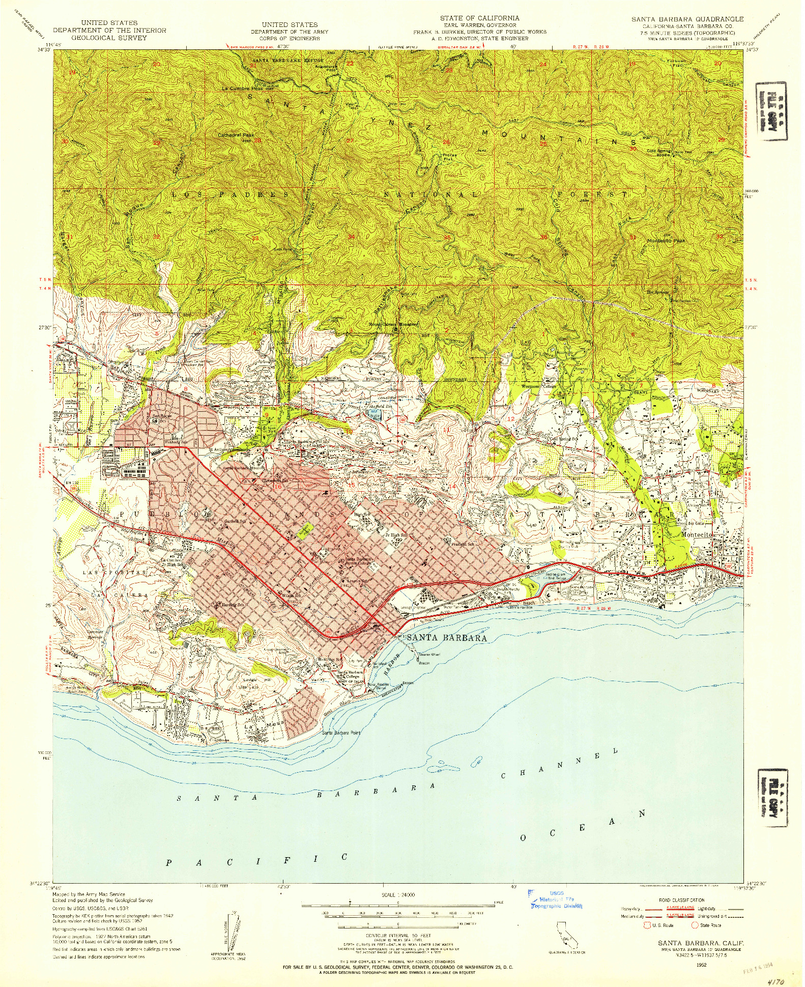 USGS 1:24000-SCALE QUADRANGLE FOR SANTA BARBARA, CA 1952