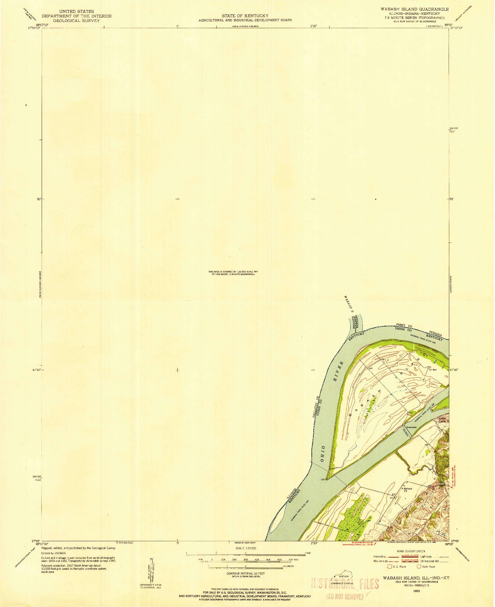 USGS 1:24000-SCALE QUADRANGLE FOR WABASH ISLAND, IL 1953