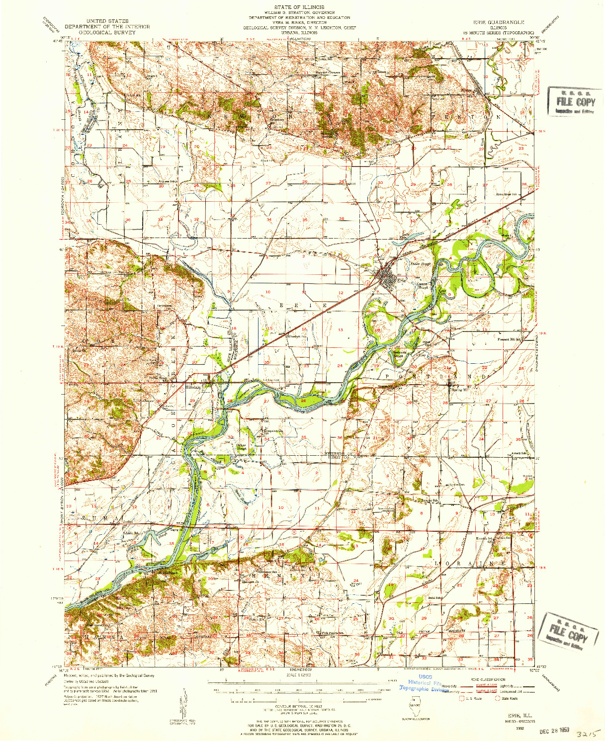USGS 1:62500-SCALE QUADRANGLE FOR ERIE, IL 1952