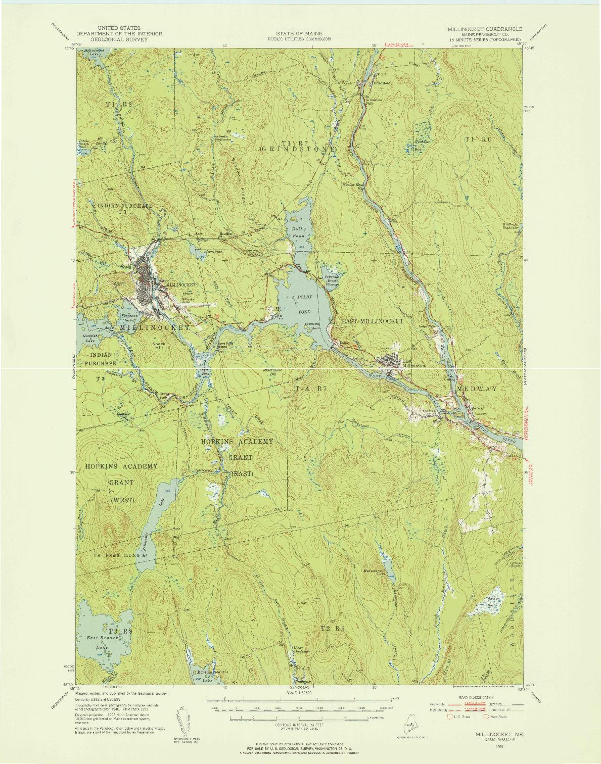 USGS 1:62500-SCALE QUADRANGLE FOR MILLINOCKET, ME 1951