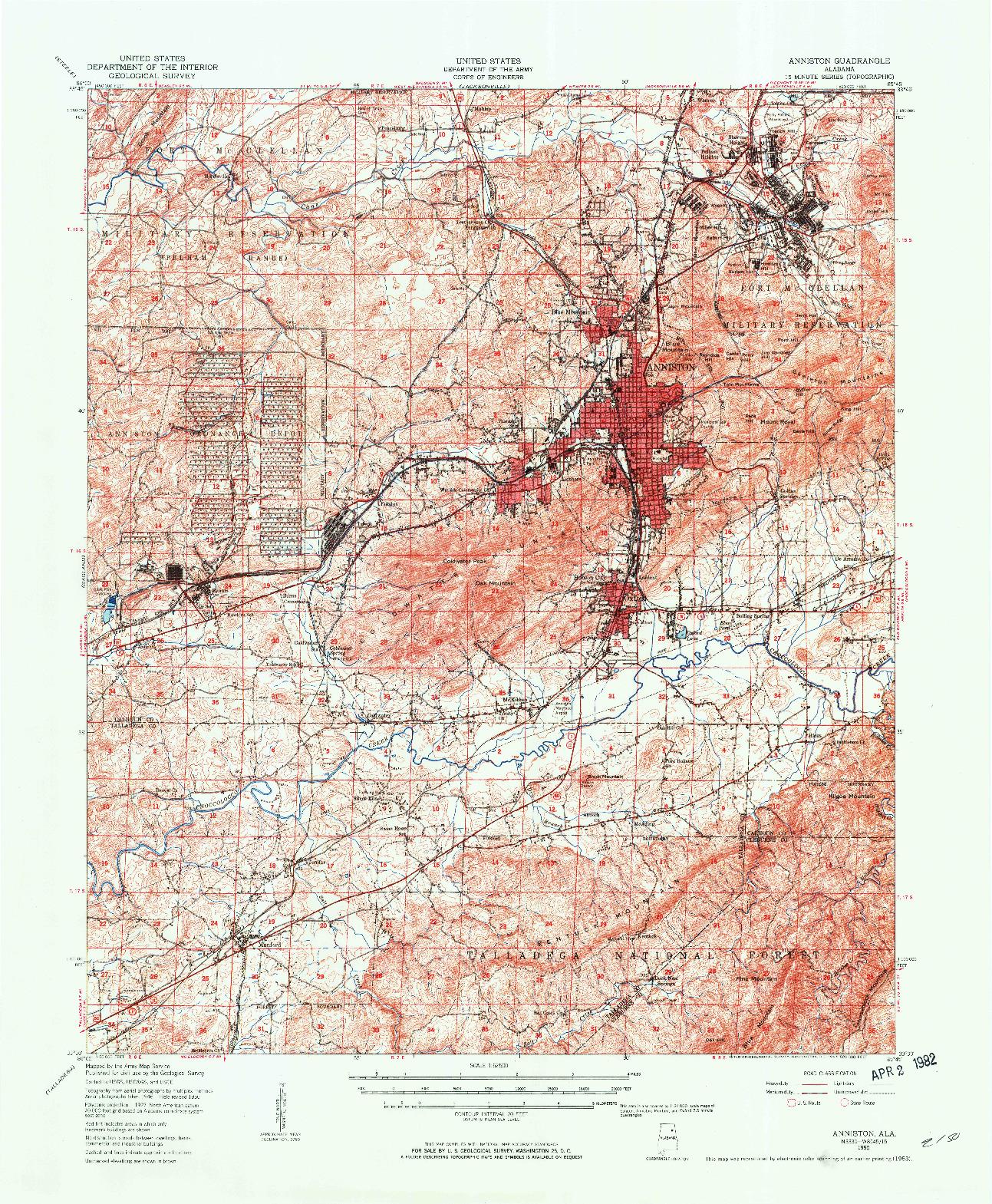 USGS 1:62500-SCALE QUADRANGLE FOR ANNISTON, AL 1950