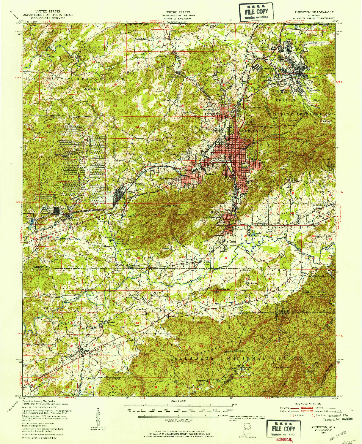 USGS 1:62500-SCALE QUADRANGLE FOR ANNISTON, AL 1950