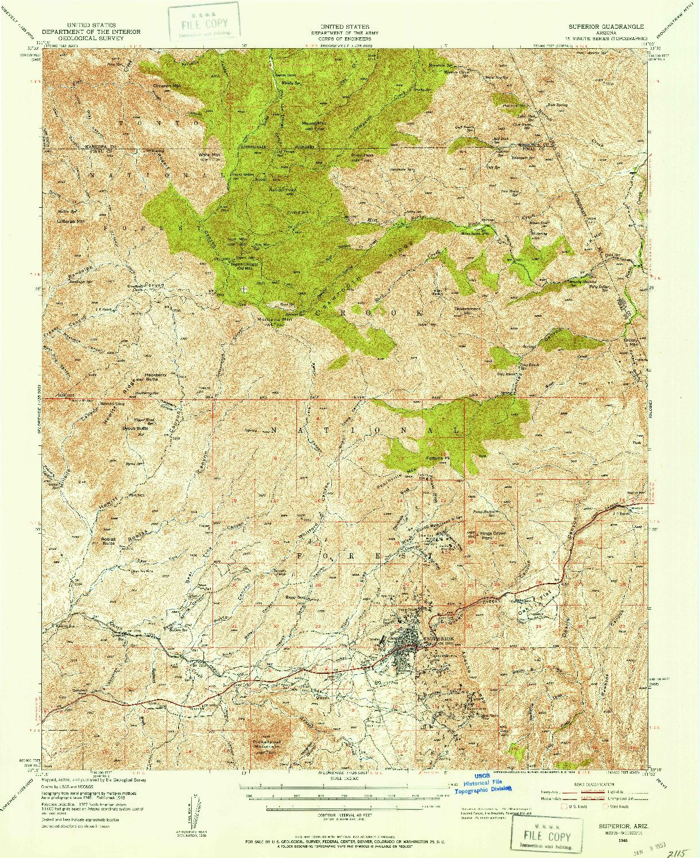 USGS 1:62500-SCALE QUADRANGLE FOR SUPERIOR, AZ 1948