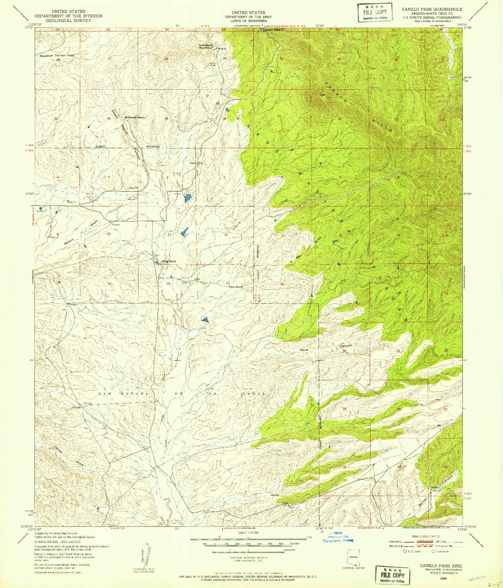 USGS 1:24000-SCALE QUADRANGLE FOR CANELO PASS, AZ 1948