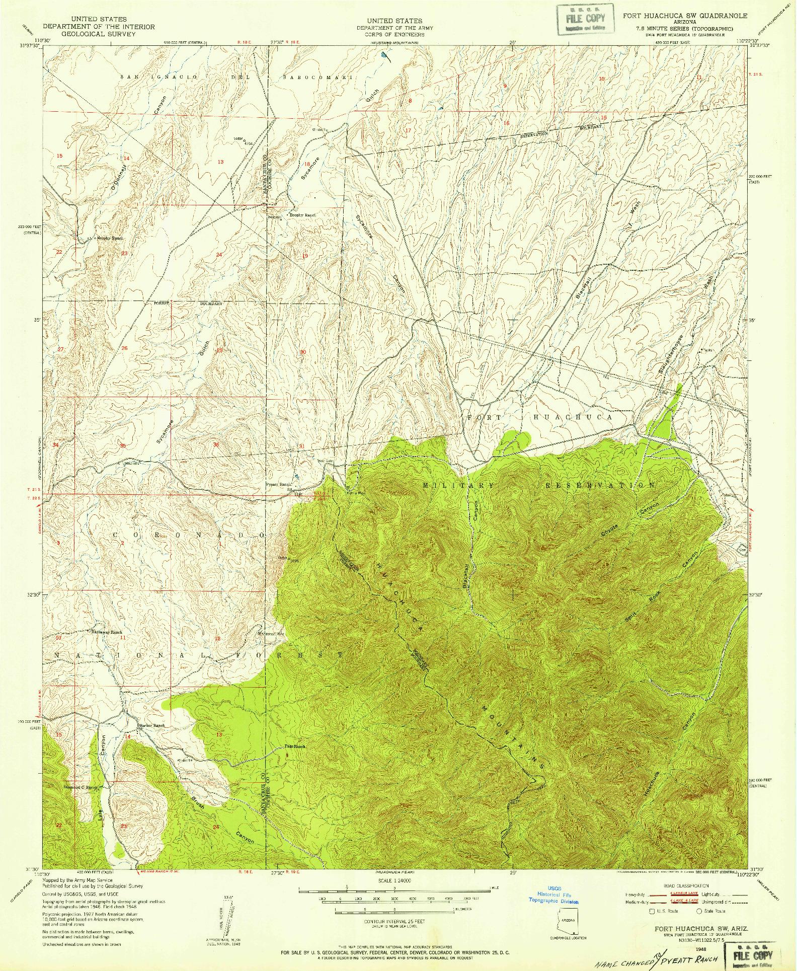 USGS 1:24000-SCALE QUADRANGLE FOR FORT HUACHUCA SW, AZ 1948