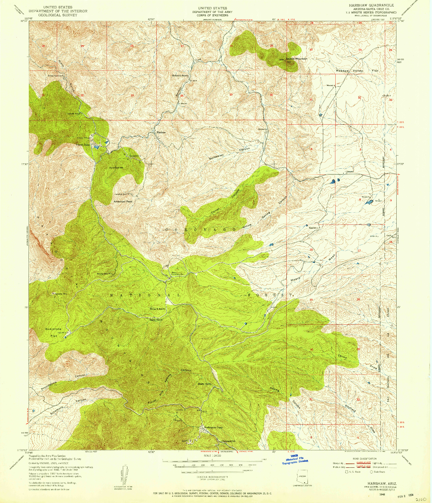 USGS 1:24000-SCALE QUADRANGLE FOR HARSHAW, AZ 1948