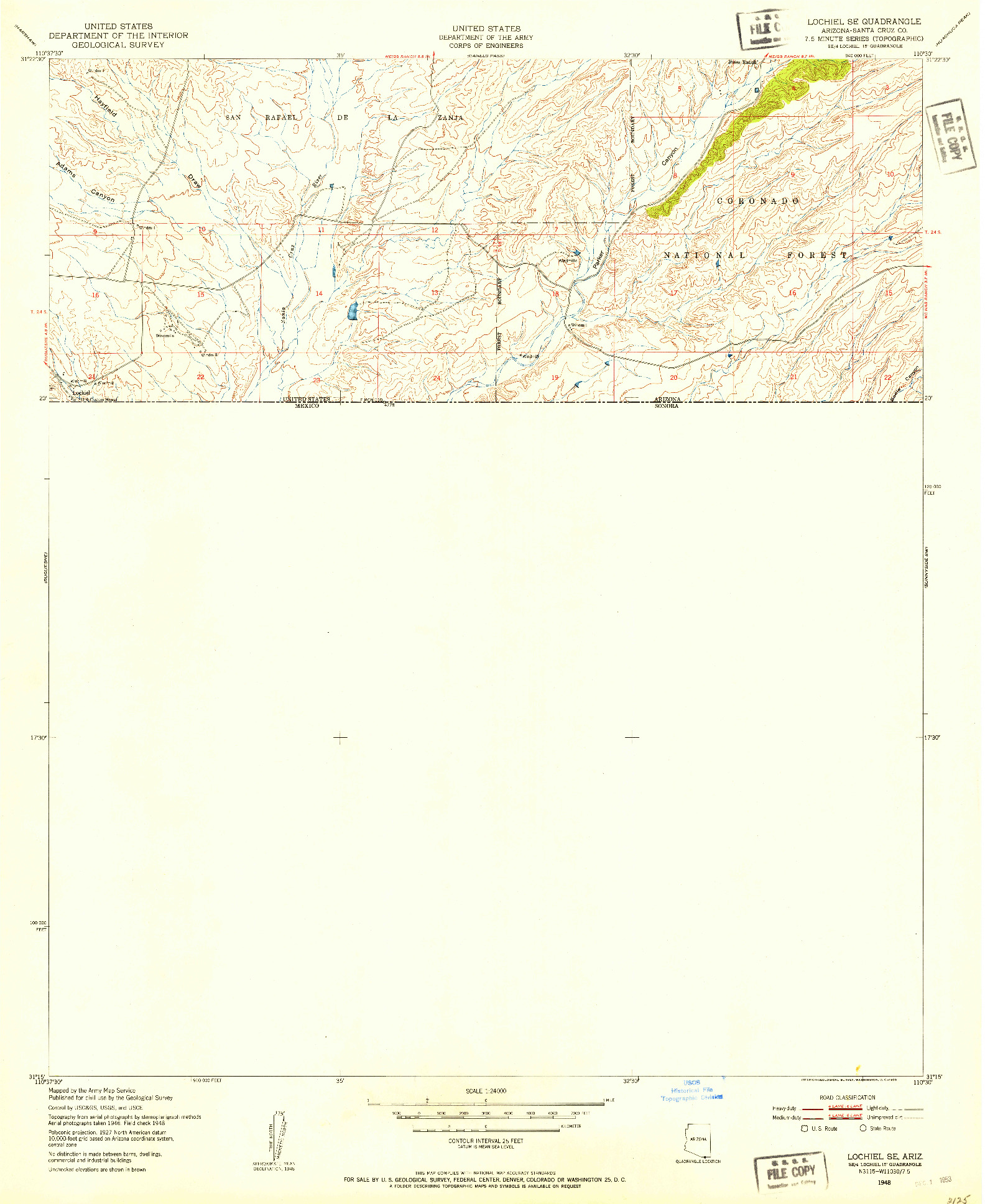 USGS 1:24000-SCALE QUADRANGLE FOR LOCHIEL SE, AZ 1948