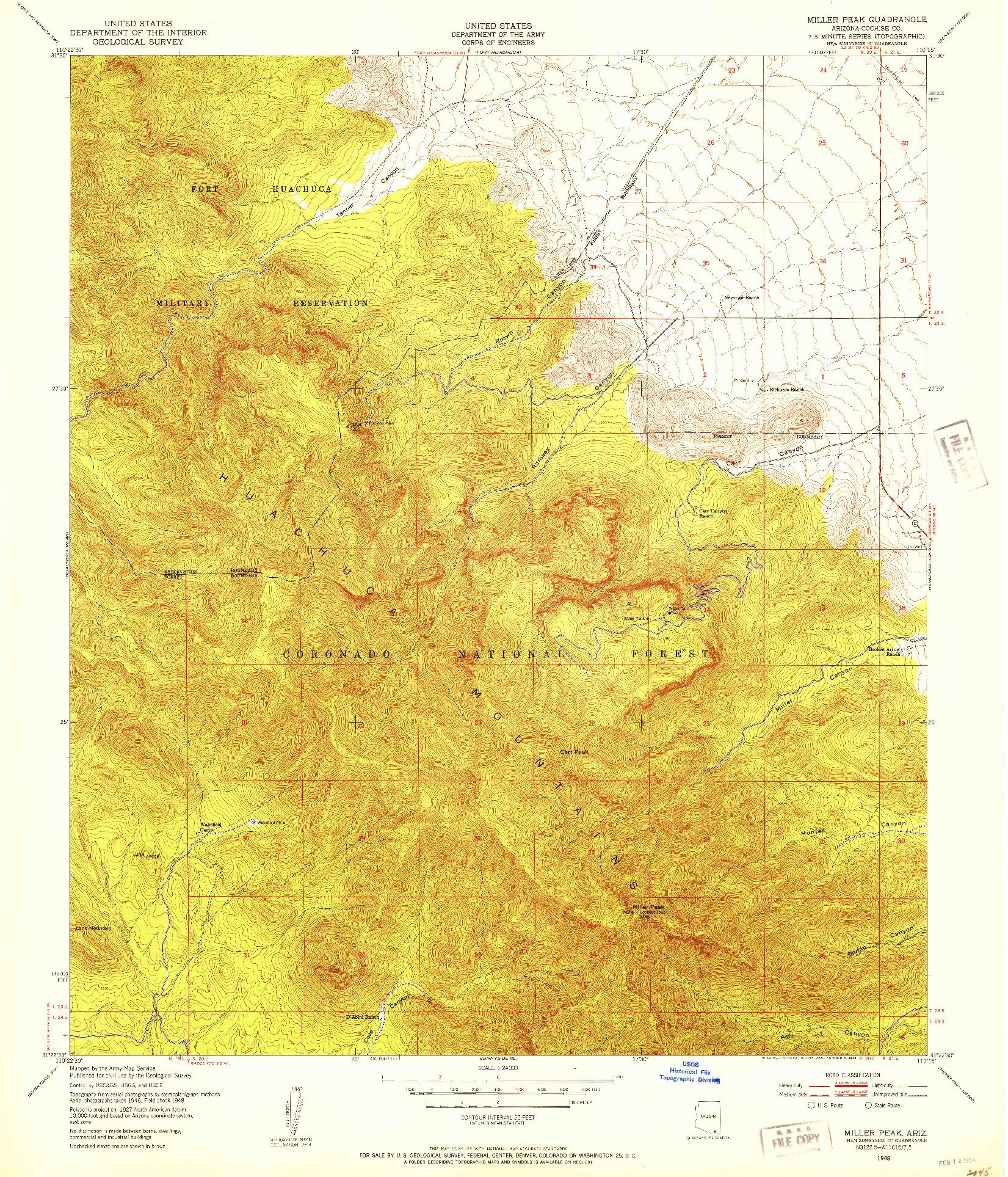 USGS 1:24000-SCALE QUADRANGLE FOR MILLER PEAK, AZ 1948