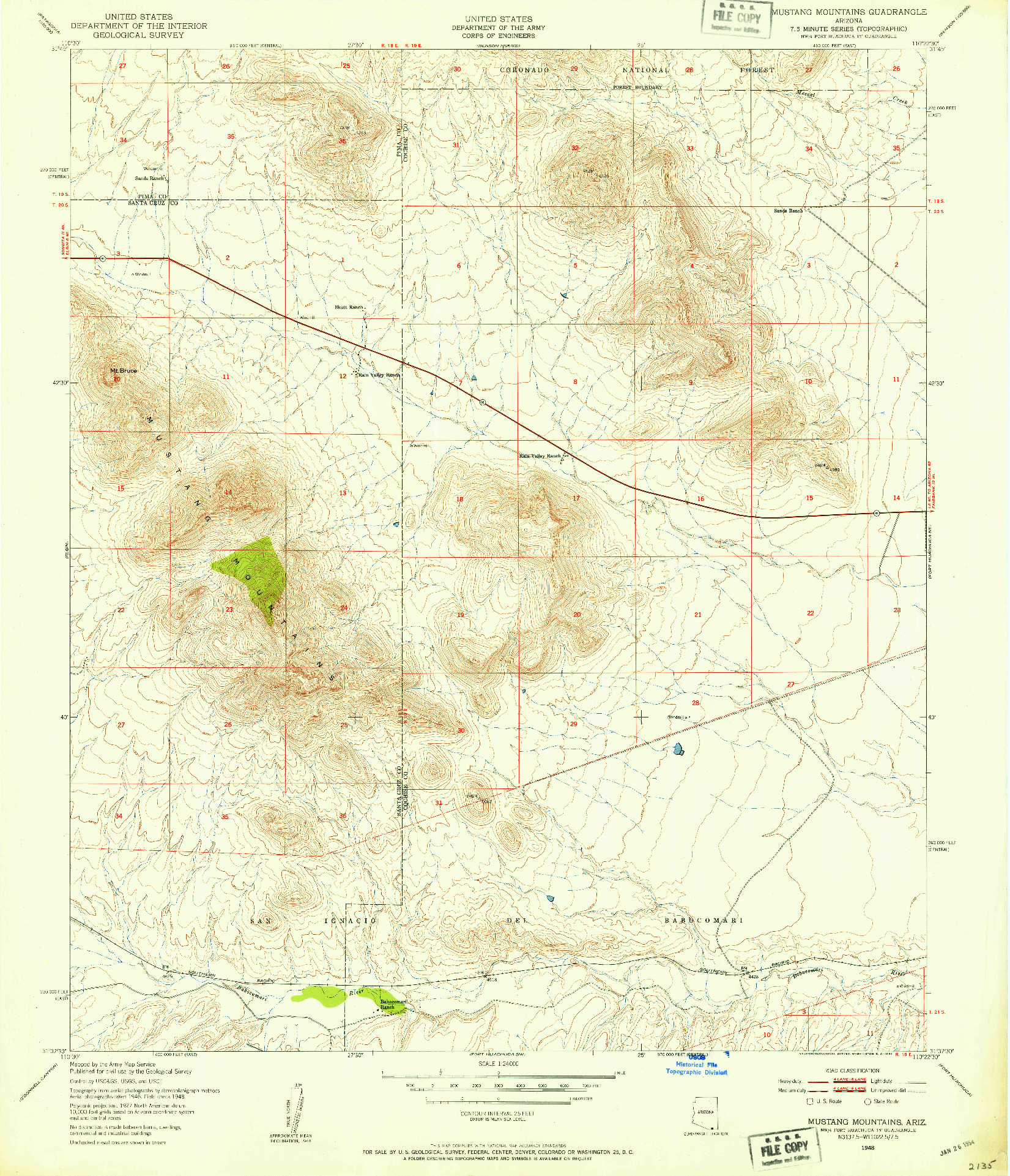 USGS 1:24000-SCALE QUADRANGLE FOR MUSTANG MOUNTAINS, AZ 1948