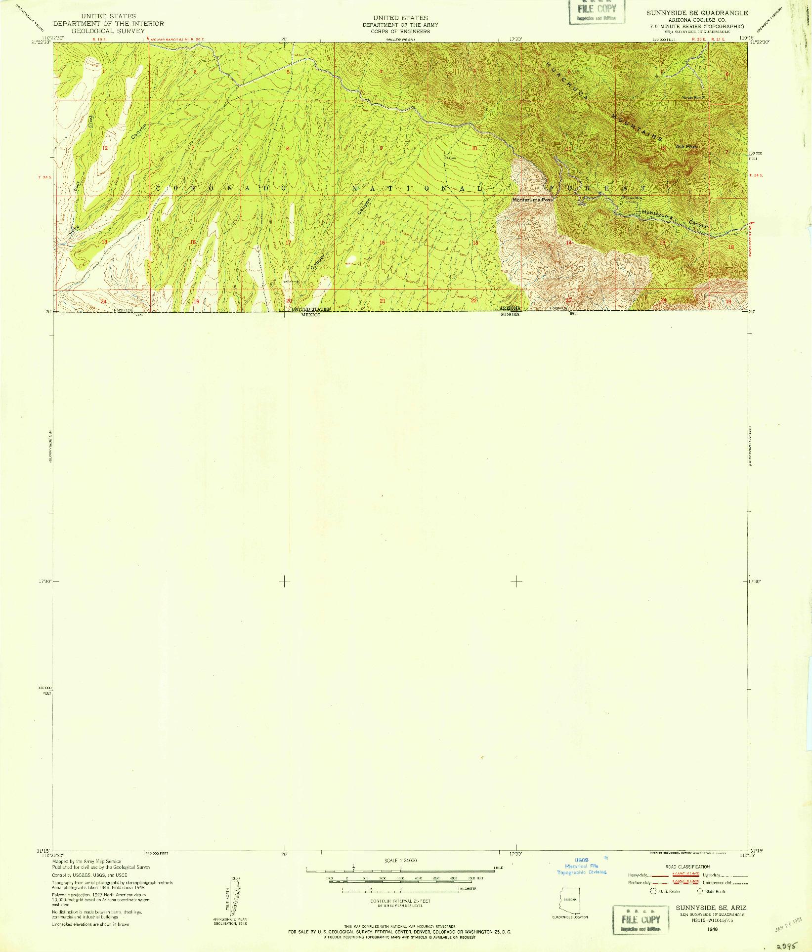 USGS 1:24000-SCALE QUADRANGLE FOR SUNNYSIDE SE, AZ 1948