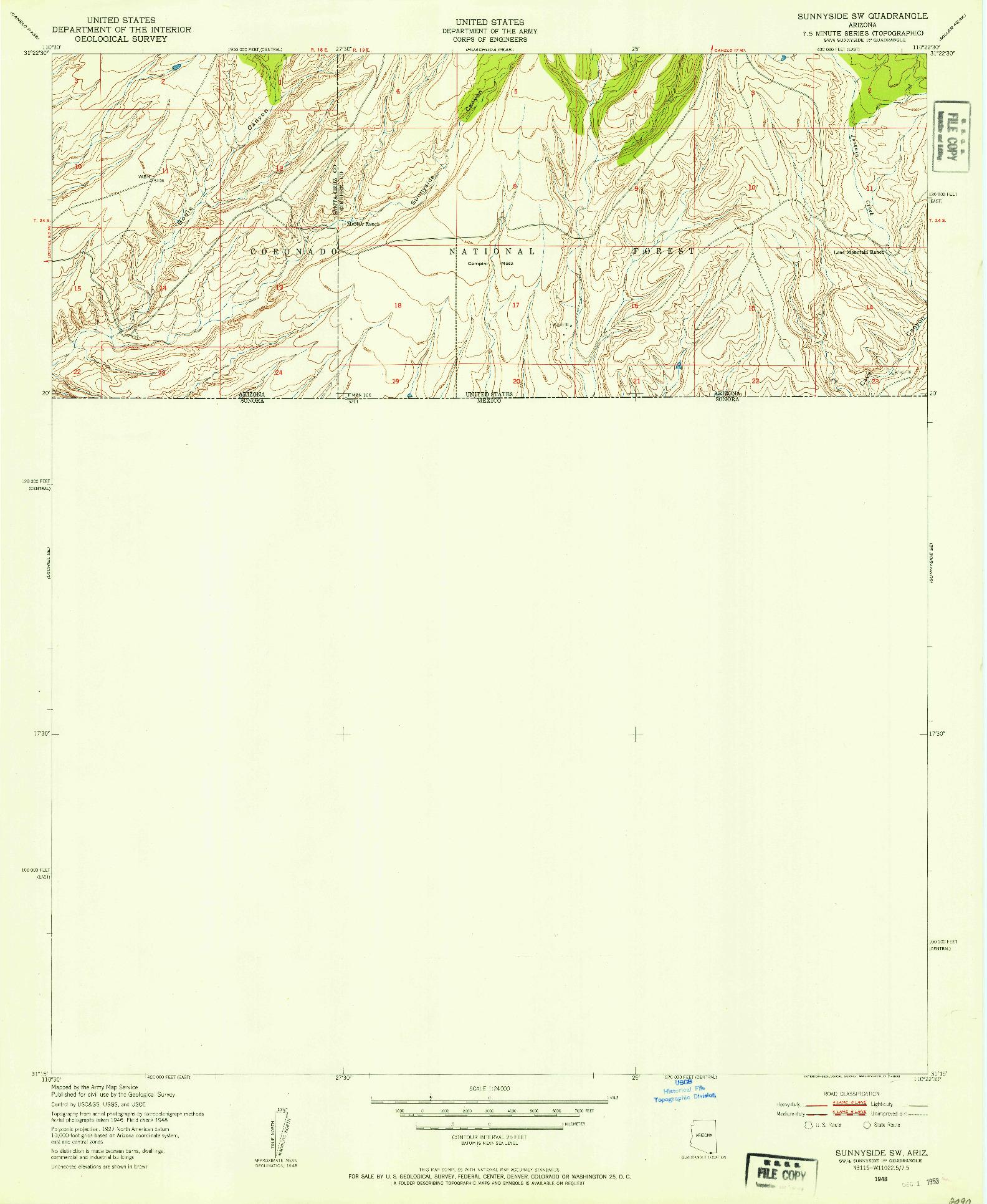 USGS 1:24000-SCALE QUADRANGLE FOR SUNNYSIDE SW, AZ 1948