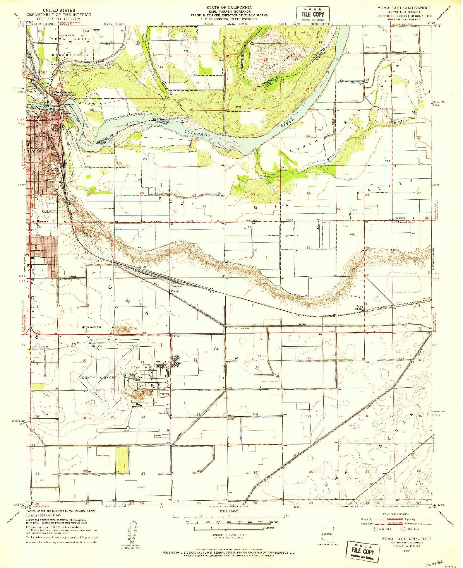 USGS 1:24000-SCALE QUADRANGLE FOR YUMA EAST, AZ 1952