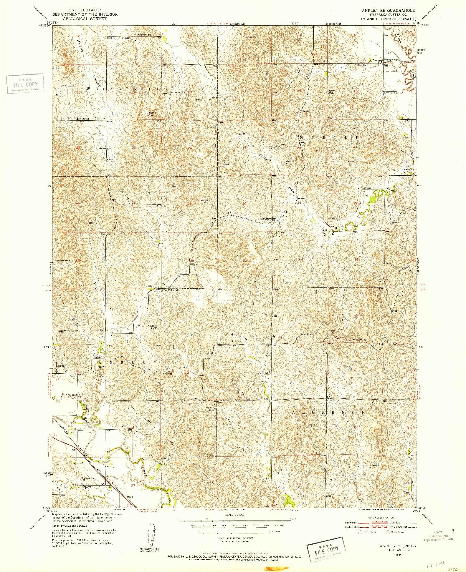 USGS 1:24000-SCALE QUADRANGLE FOR ANSLEY SE, NE 1951