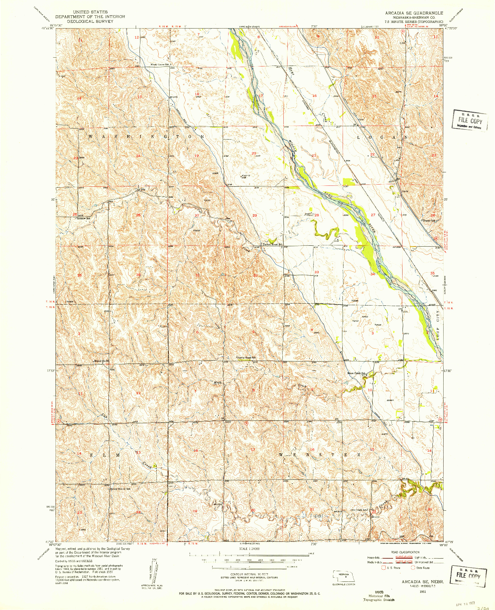 USGS 1:24000-SCALE QUADRANGLE FOR ARCADIA SE, NE 1951