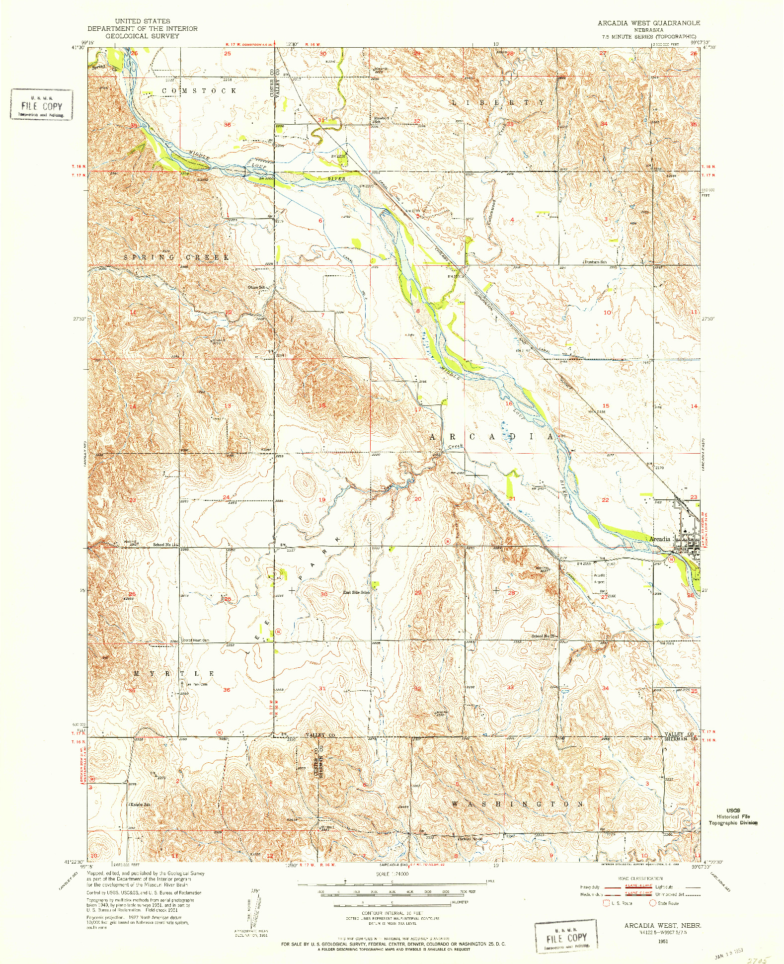 USGS 1:24000-SCALE QUADRANGLE FOR ARCADIA WEST, NE 1951