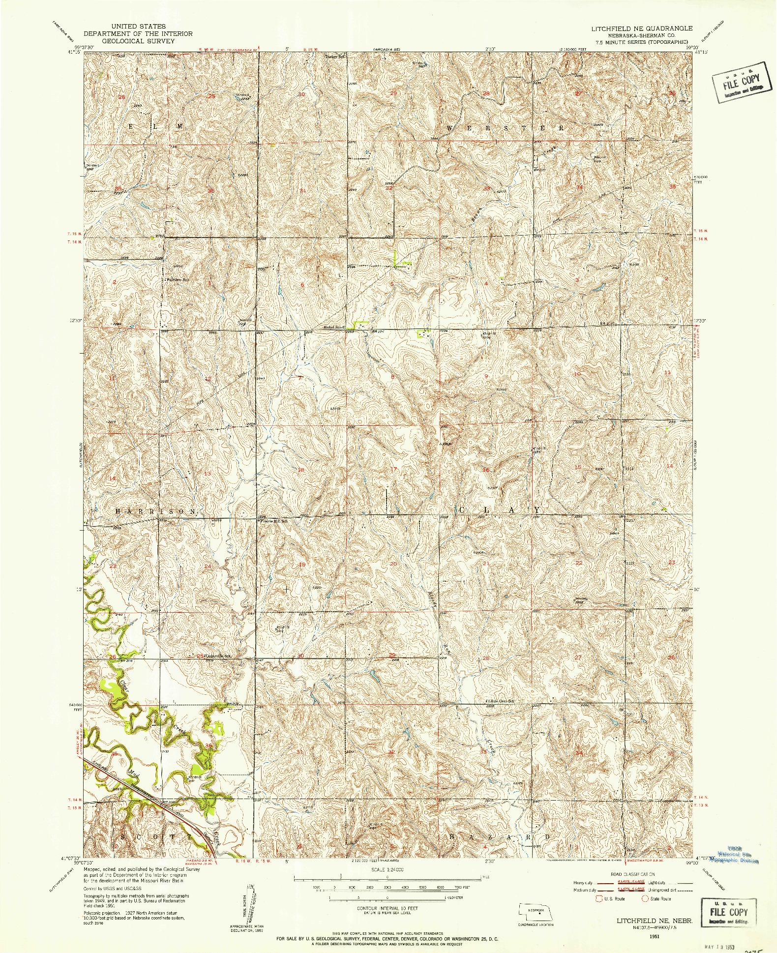USGS 1:24000-SCALE QUADRANGLE FOR LITCHFIELD NE, NE 1951