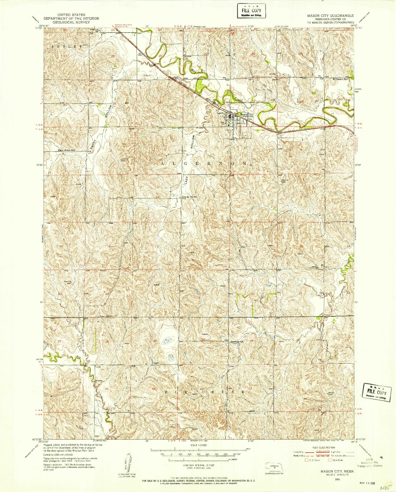 USGS 1:24000-SCALE QUADRANGLE FOR MASON CITY, NE 1951