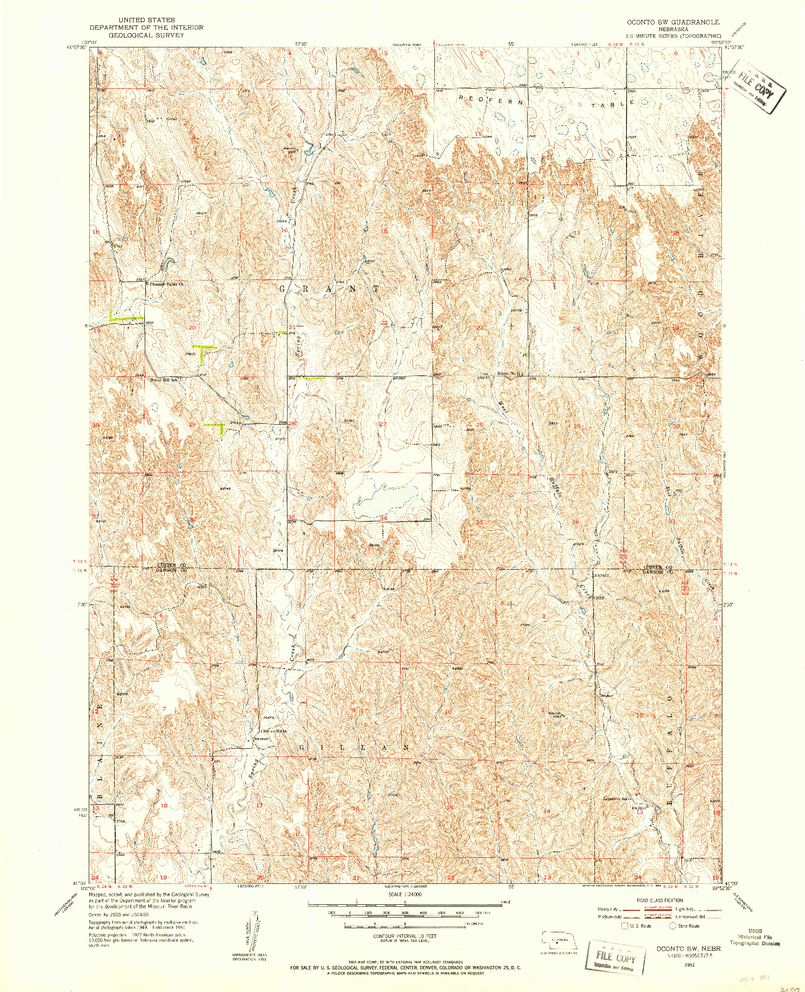 USGS 1:24000-SCALE QUADRANGLE FOR OCONTO SW, NE 1951