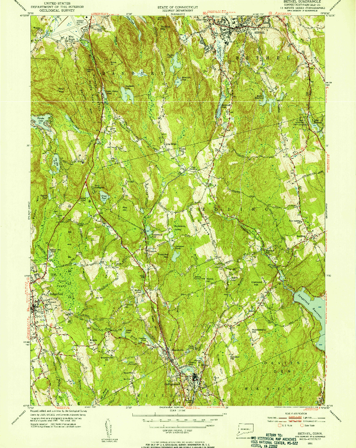USGS 1:31680-SCALE QUADRANGLE FOR BETHEL, CT 1951