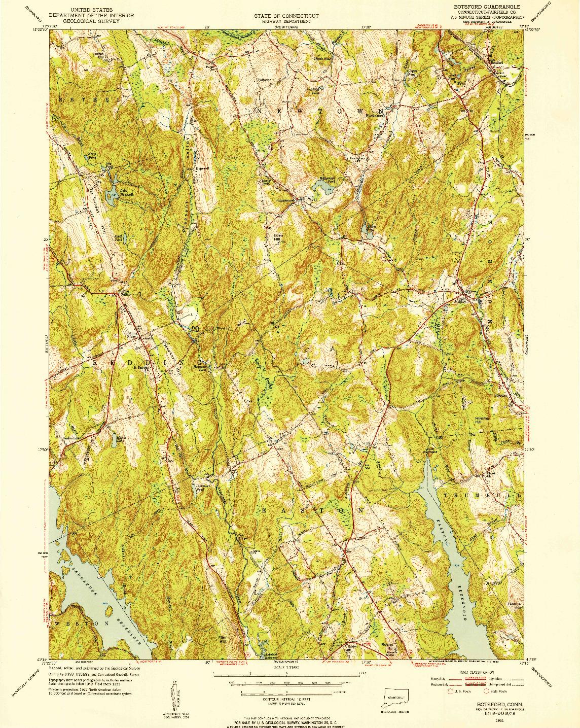 USGS 1:31680-SCALE QUADRANGLE FOR BOTSFORD, CT 1951