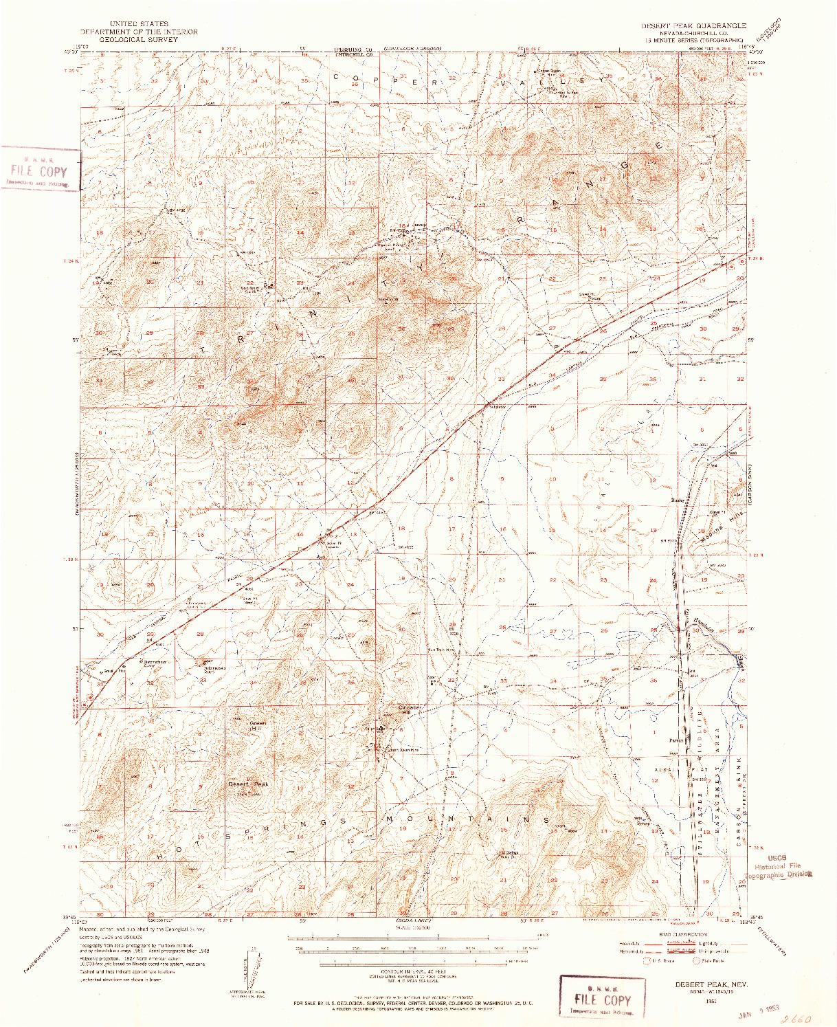 USGS 1:62500-SCALE QUADRANGLE FOR DESERT PEAK, NV 1951
