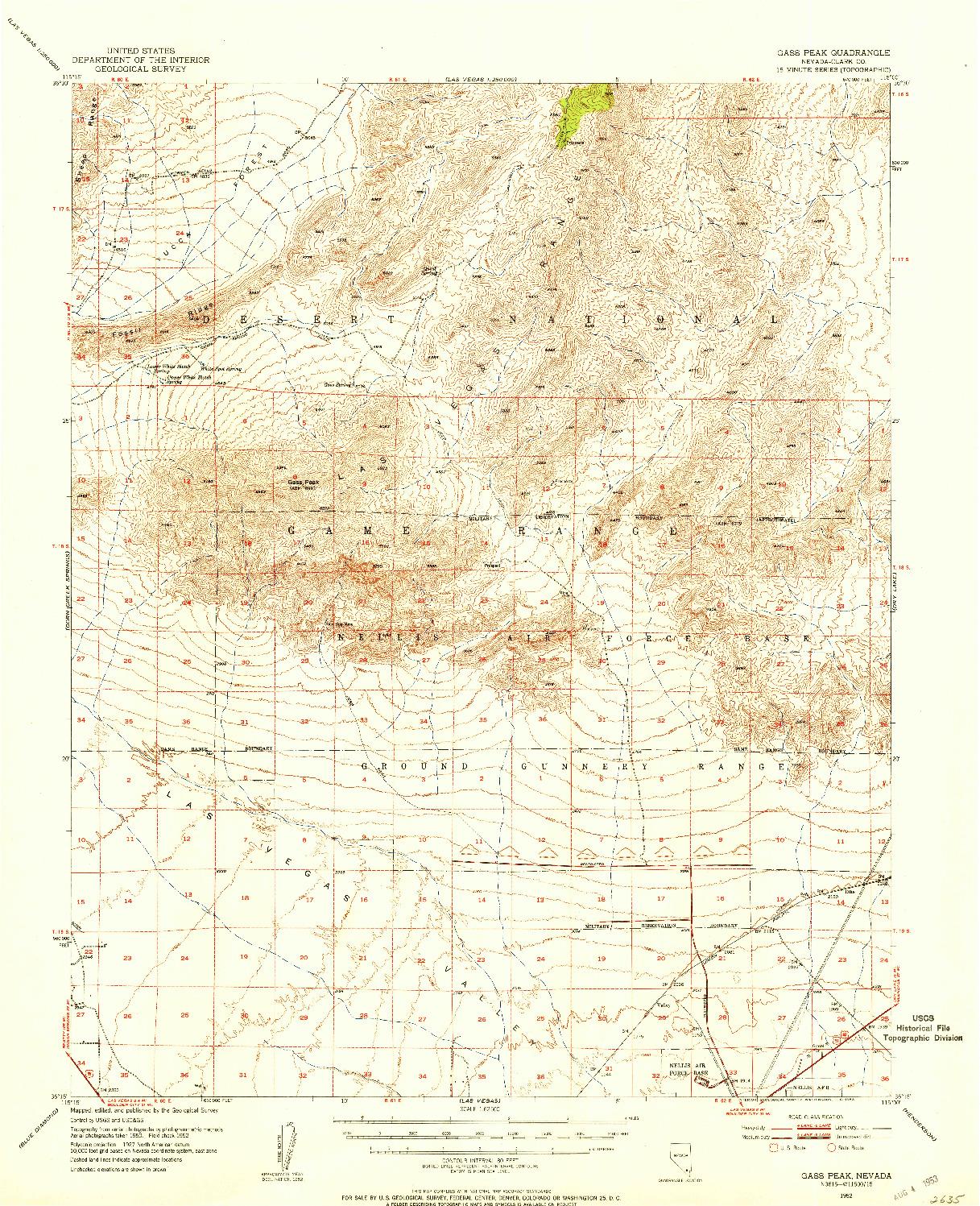 USGS 1:62500-SCALE QUADRANGLE FOR GASS PEAK, NV 1952