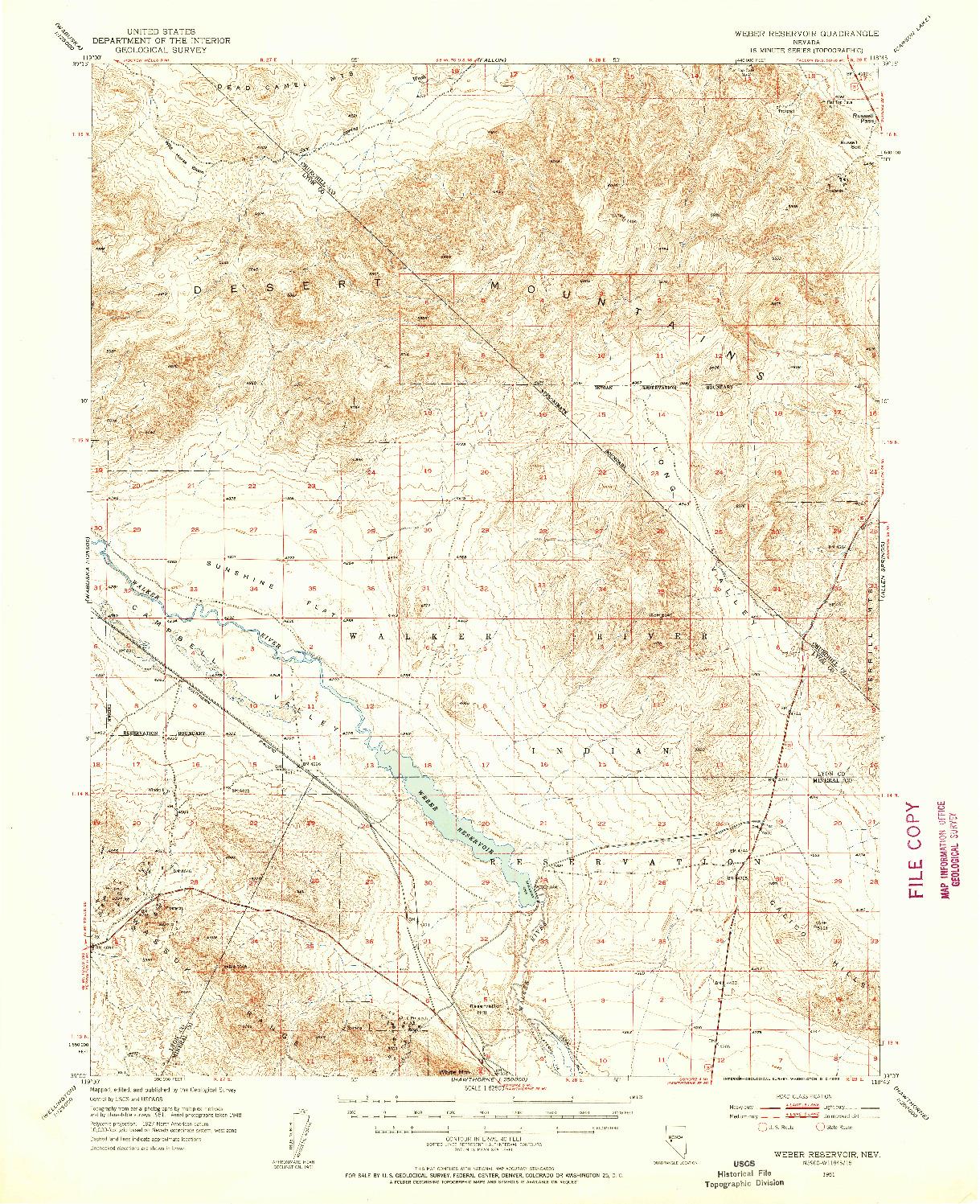USGS 1:62500-SCALE QUADRANGLE FOR WEBER RESERVOIR, NV 1951