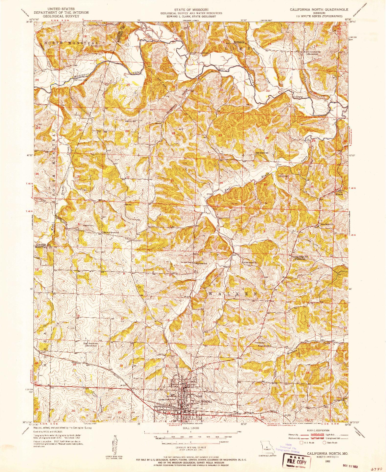 USGS 1:24000-SCALE QUADRANGLE FOR CALIFORNIA NORTH, MO 1952