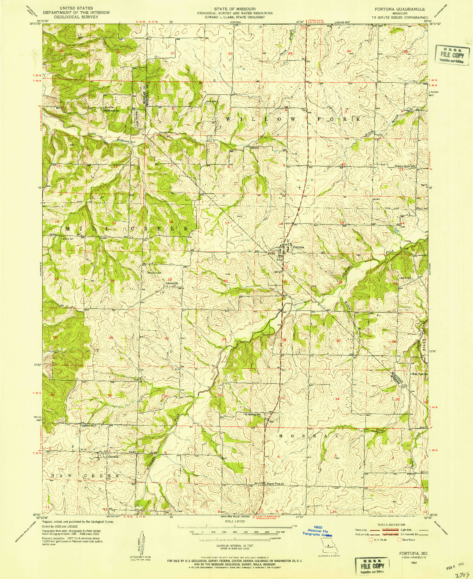 USGS 1:24000-SCALE QUADRANGLE FOR FORTUNA, MO 1952