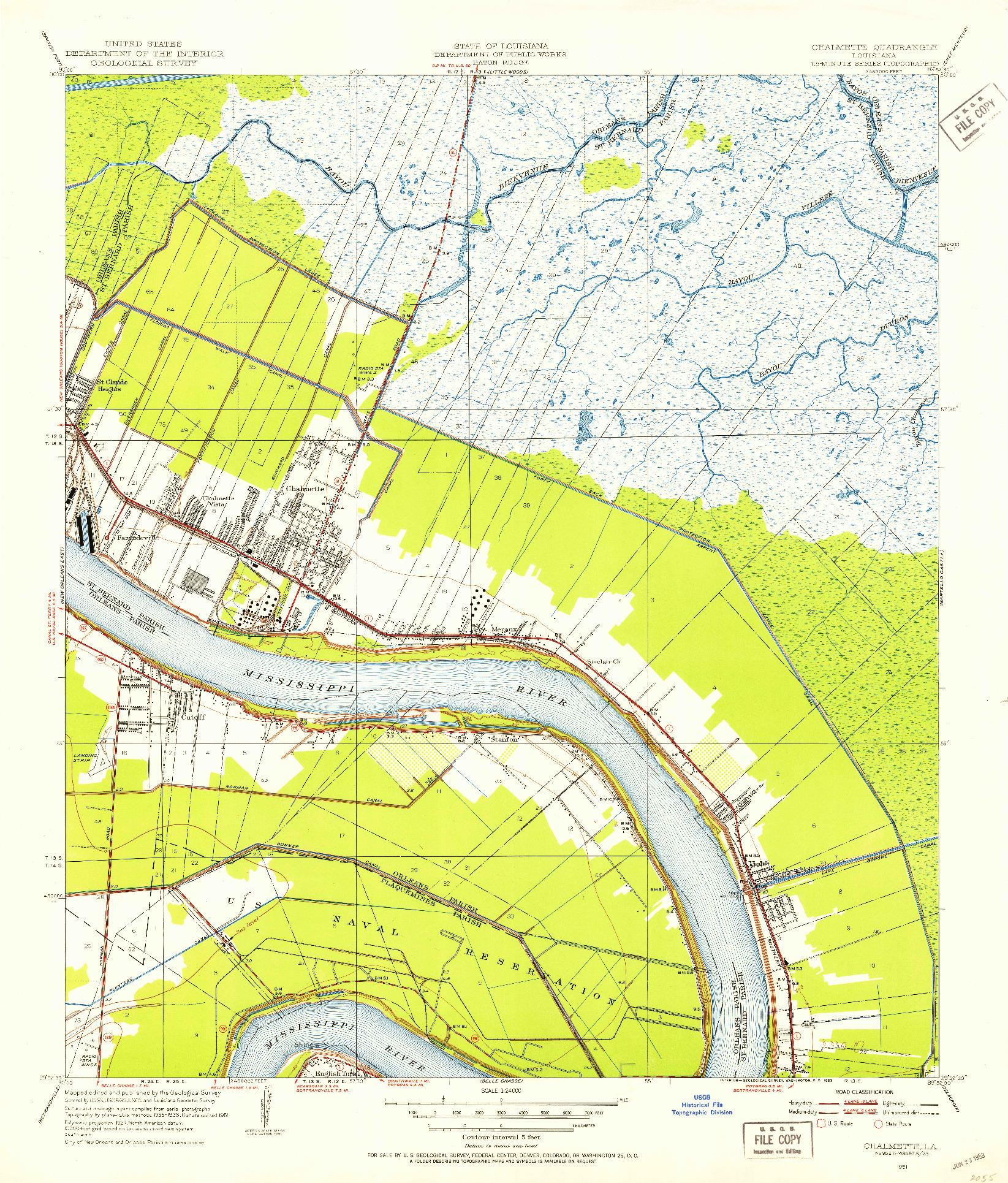 USGS 1:24000-SCALE QUADRANGLE FOR CHALMETTE, LA 1951