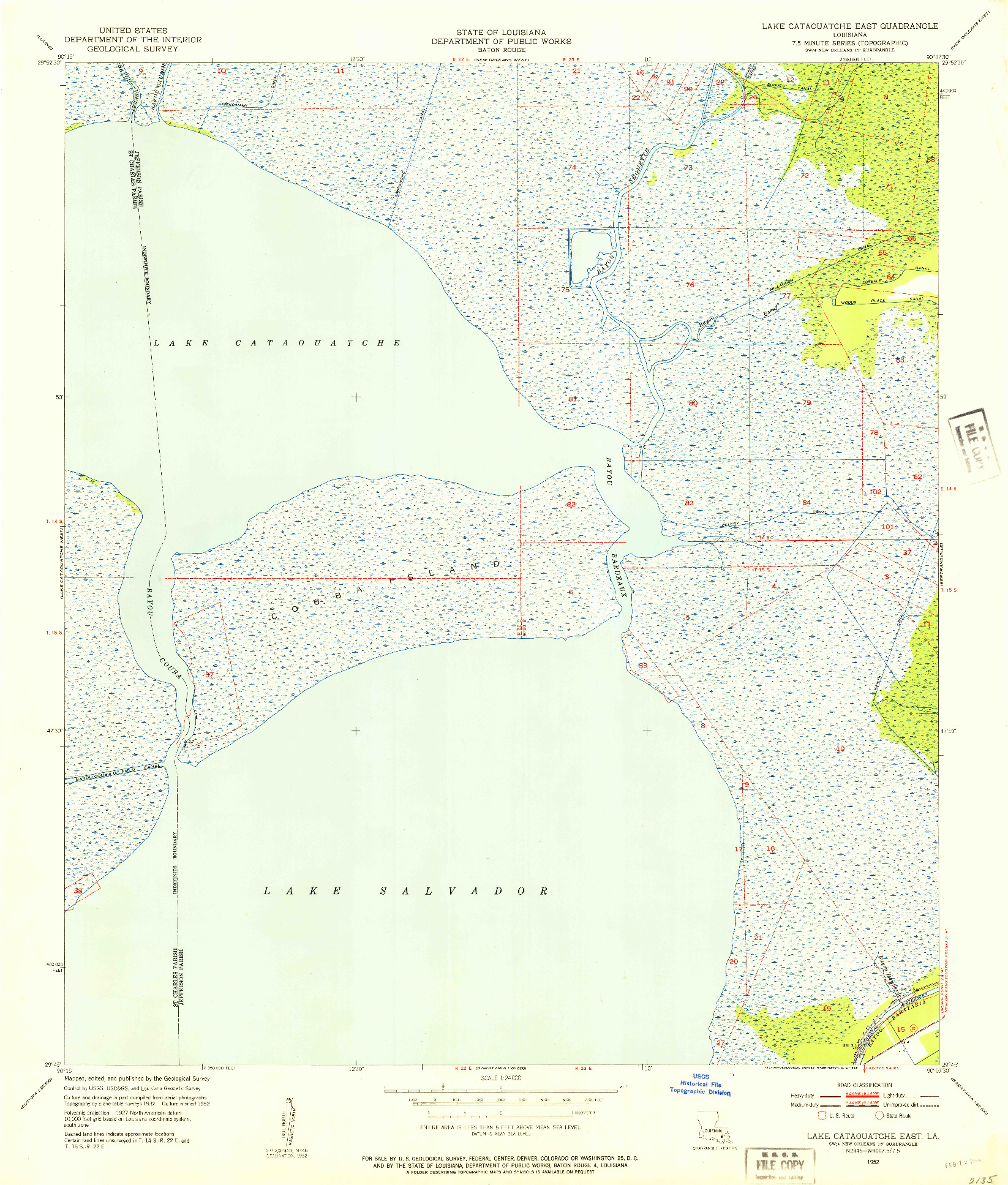 USGS 1:24000-SCALE QUADRANGLE FOR LAKE CATAOUATCHE EAST, LA 1952