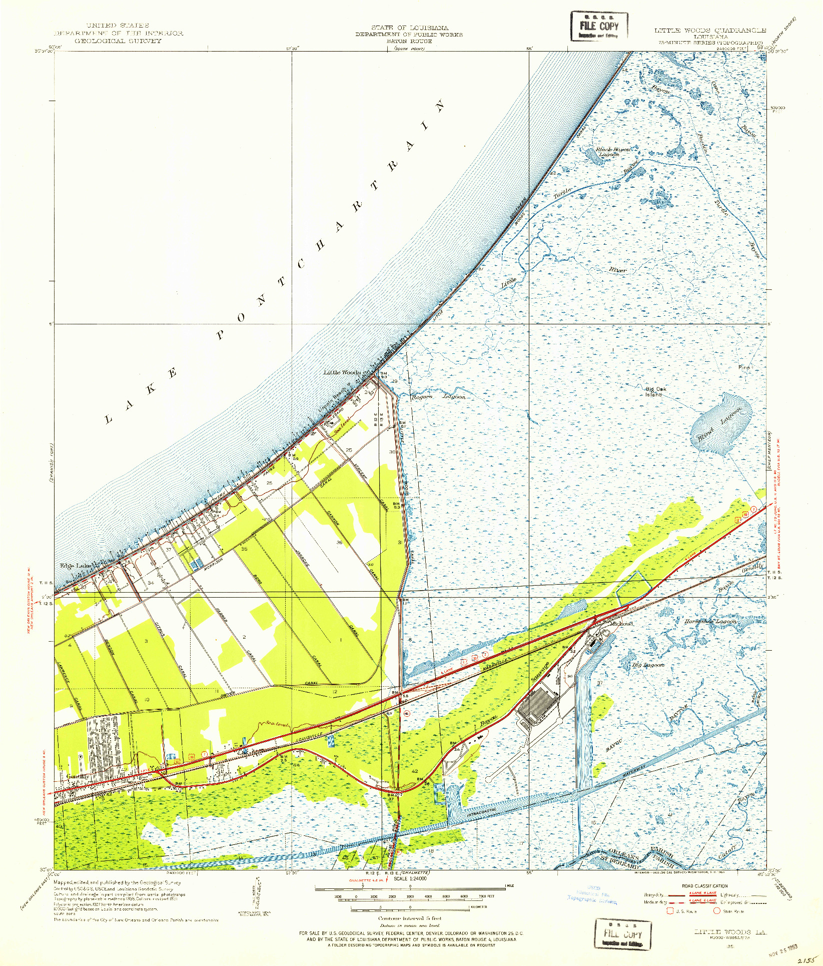 USGS 1:24000-SCALE QUADRANGLE FOR LITTLE WOODS, LA 1951