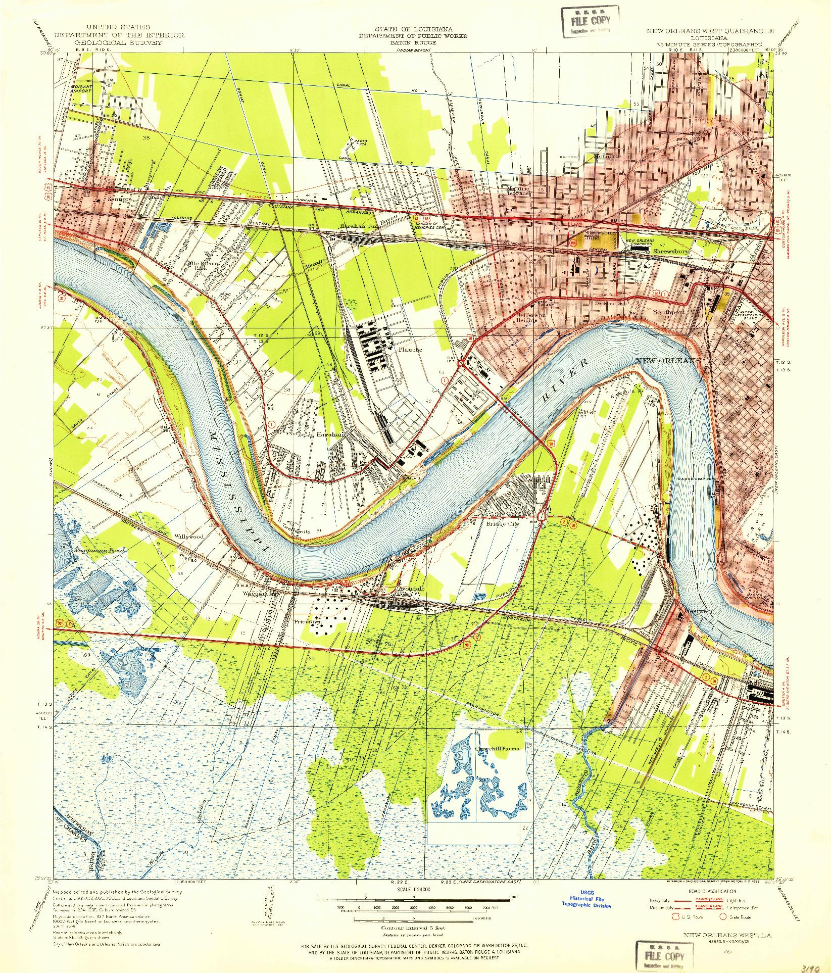 USGS 1:24000-SCALE QUADRANGLE FOR NEW ORLEANS WEST, LA 1951