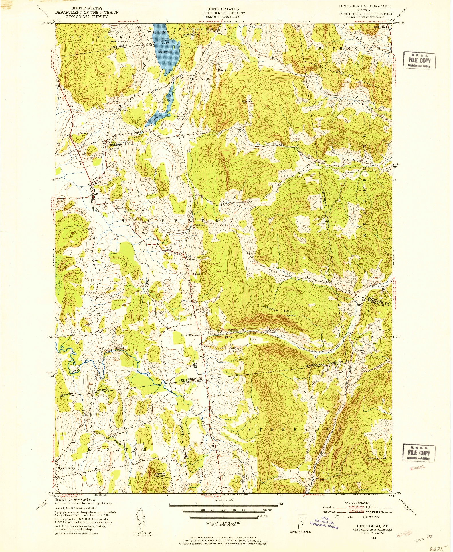 USGS 1:24000-SCALE QUADRANGLE FOR HINESBURG, VT 1948